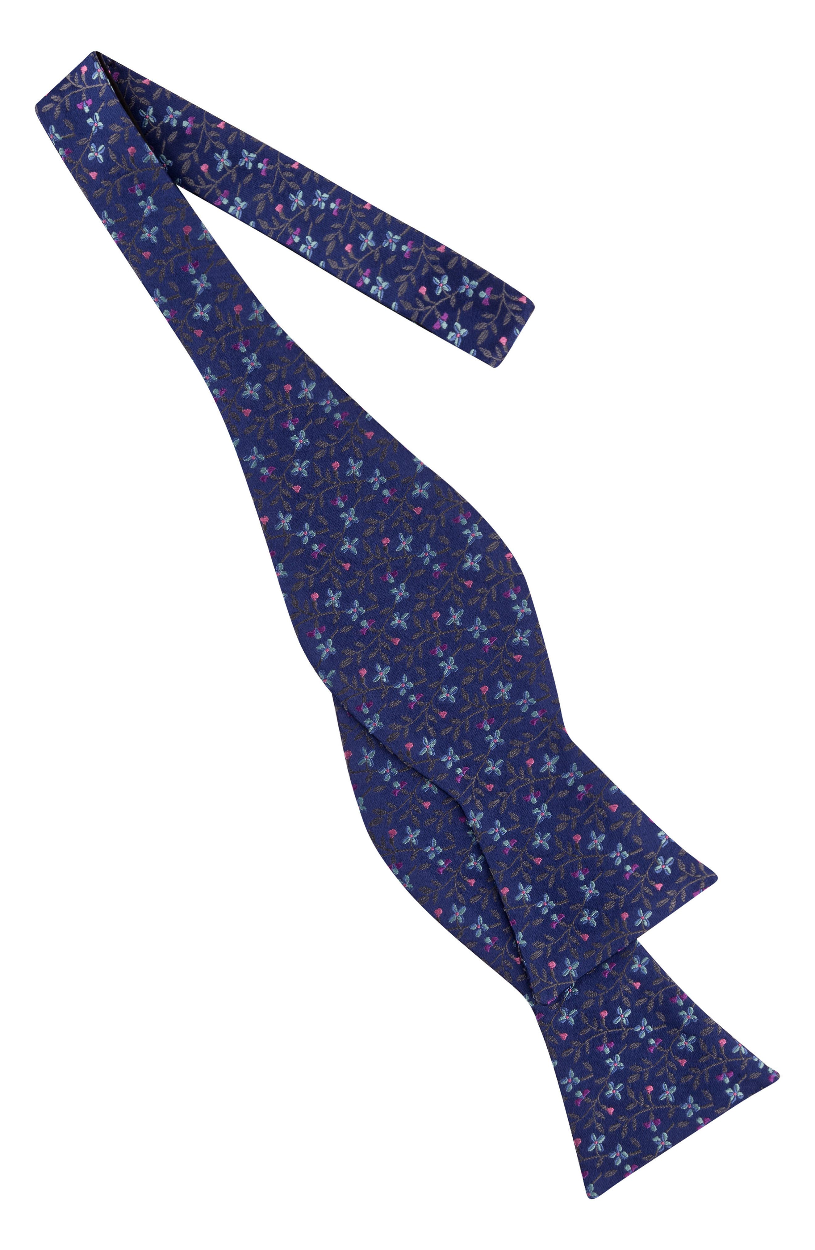 Vine Botanical Silk Bow Tie,                             Alternate thumbnail 2, color,                             Gray