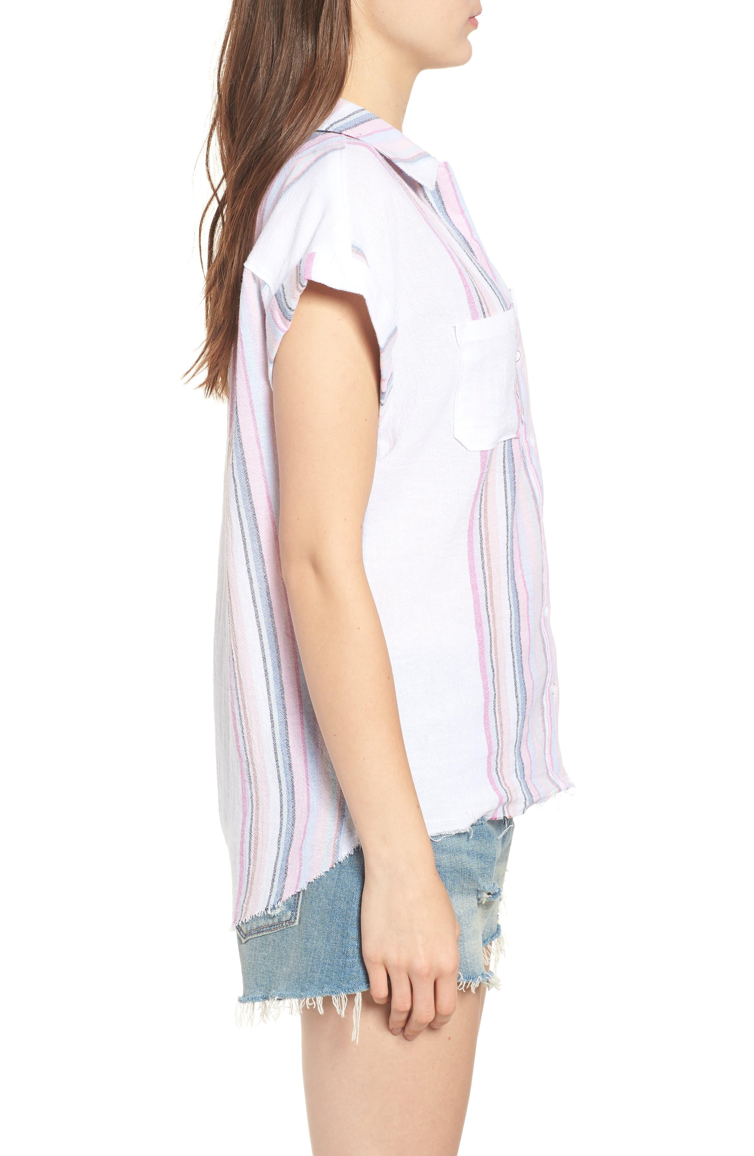 Stripe Camp Shirt,                             Alternate thumbnail 3, color,                             Josephina Rainbow Stripe