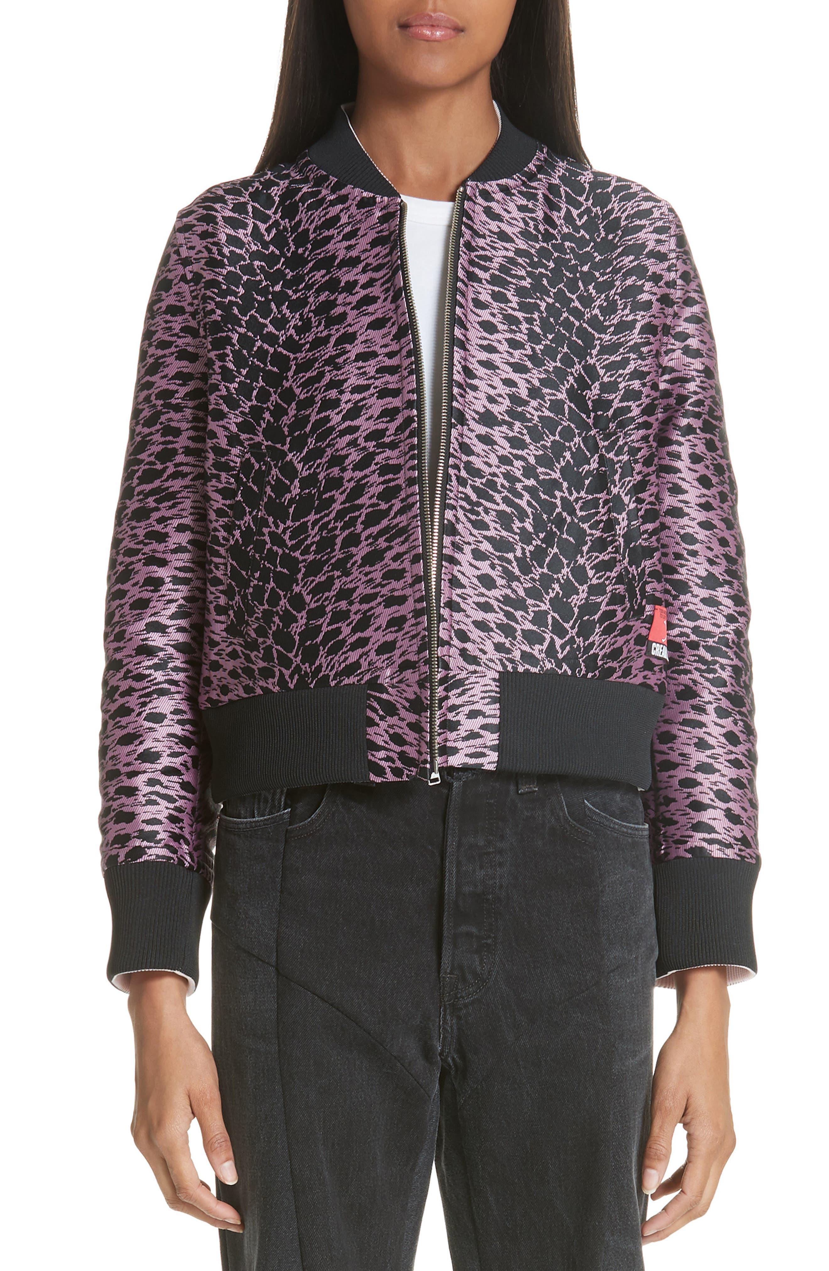 Reversible Bomber Jacket,                             Main thumbnail 1, color,                             Pink/ Black