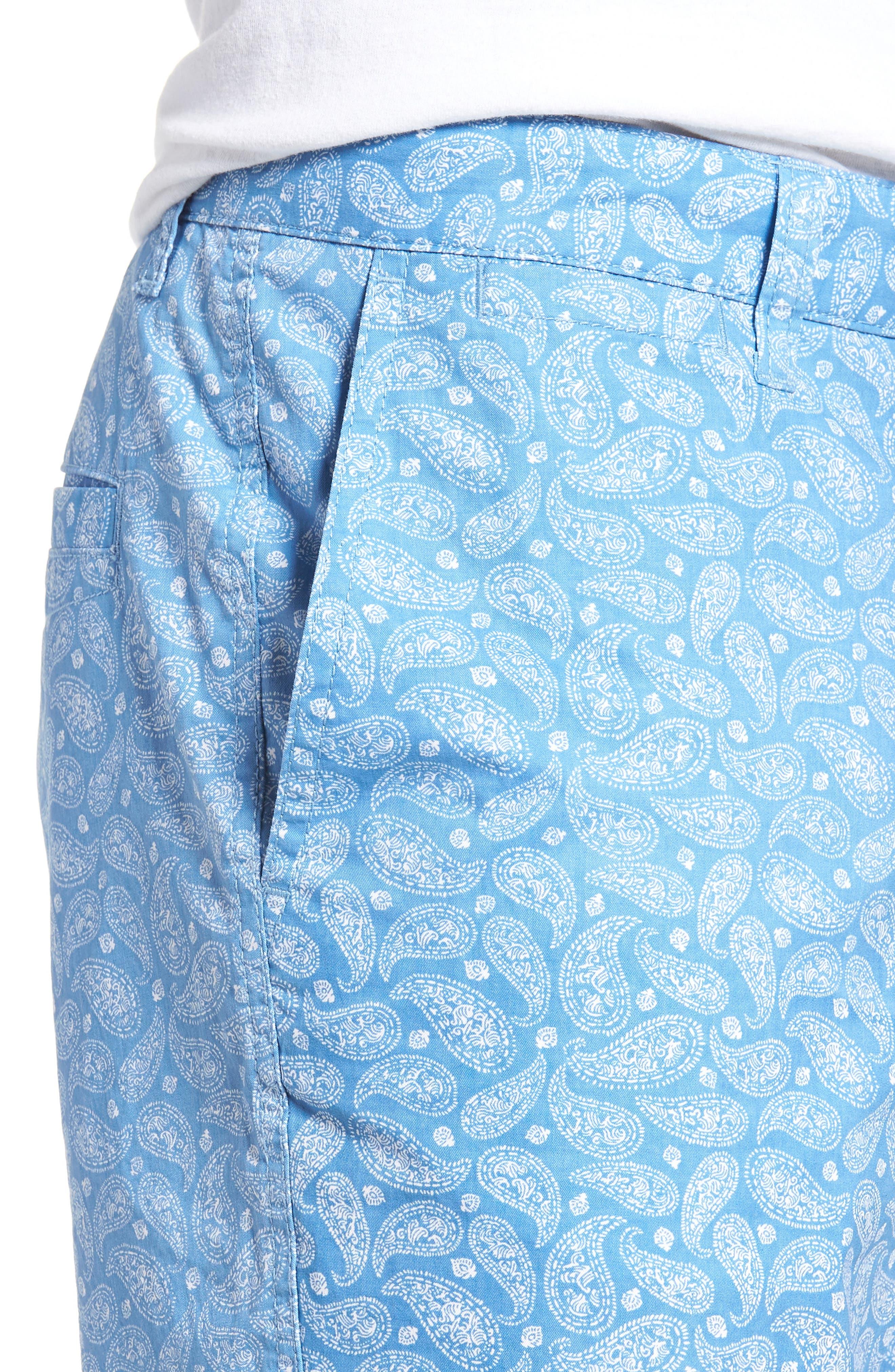 Bandana Paisley Print Shorts,                             Alternate thumbnail 4, color,                             Blue Lake Bandana Paisley