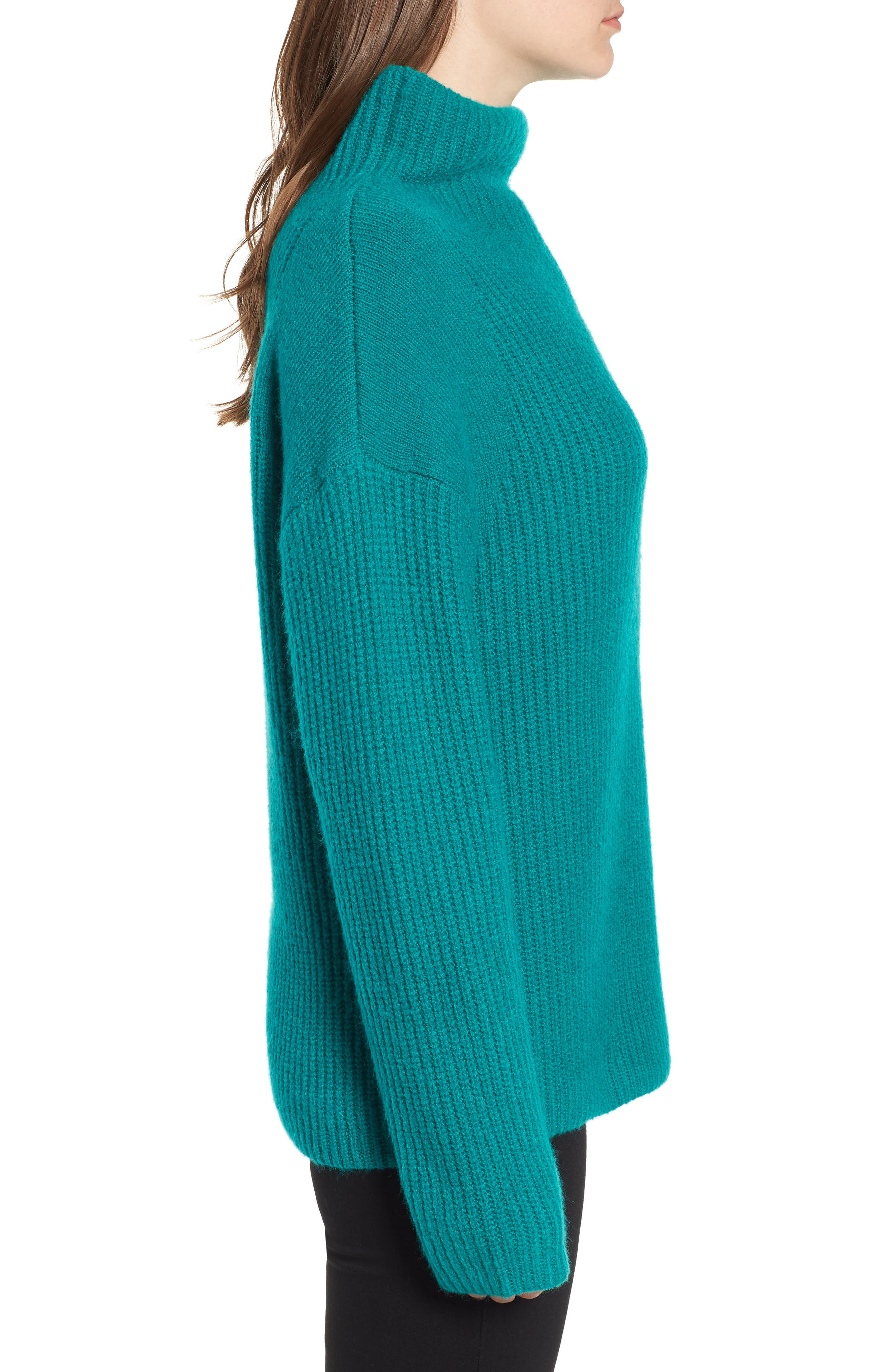 Rib Funnel Neck Sweater,                             Alternate thumbnail 3, color,                             Teal Sail