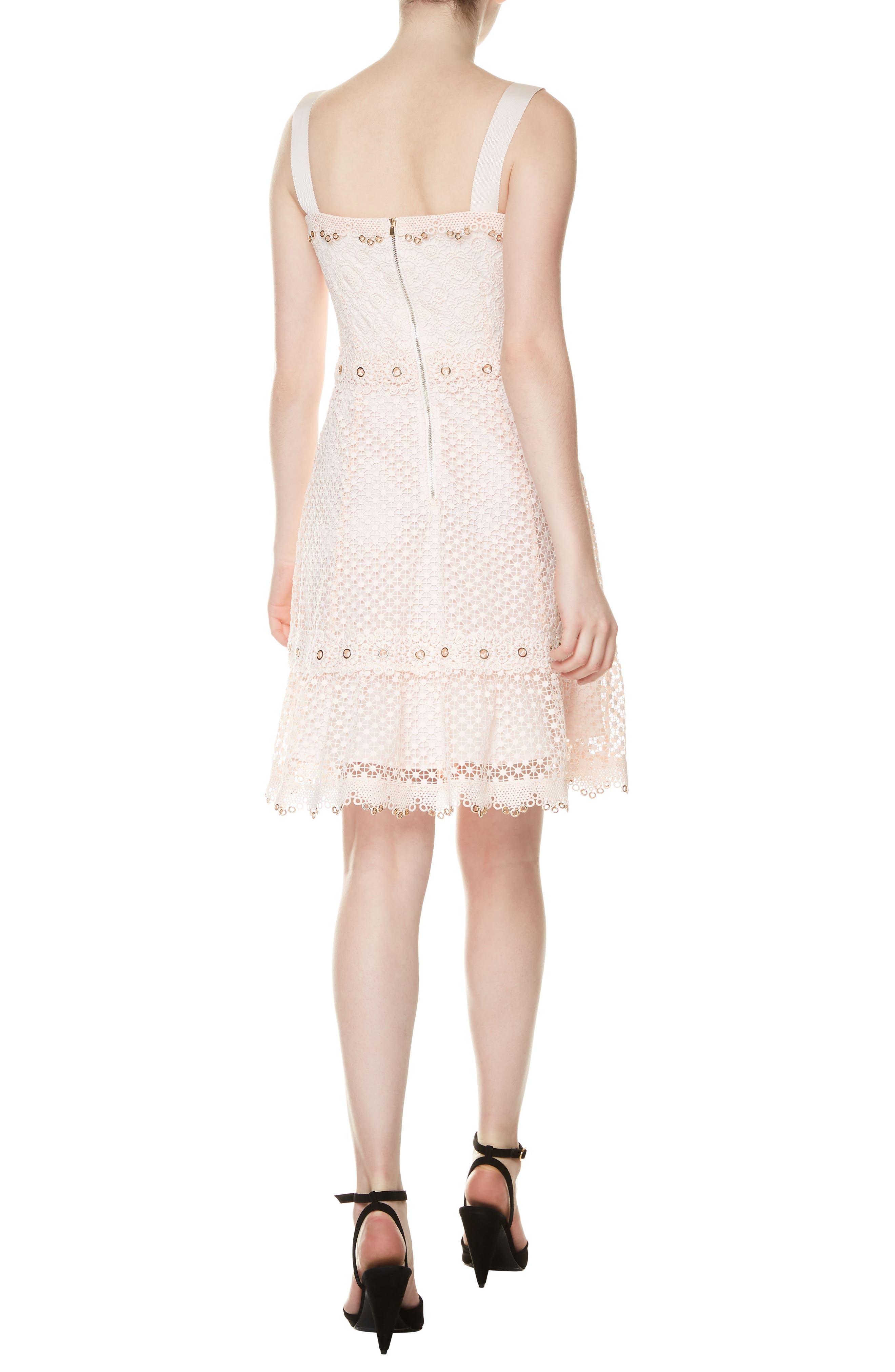 Rosalina A-Line Lace Dress,                             Alternate thumbnail 2, color,                             Rose