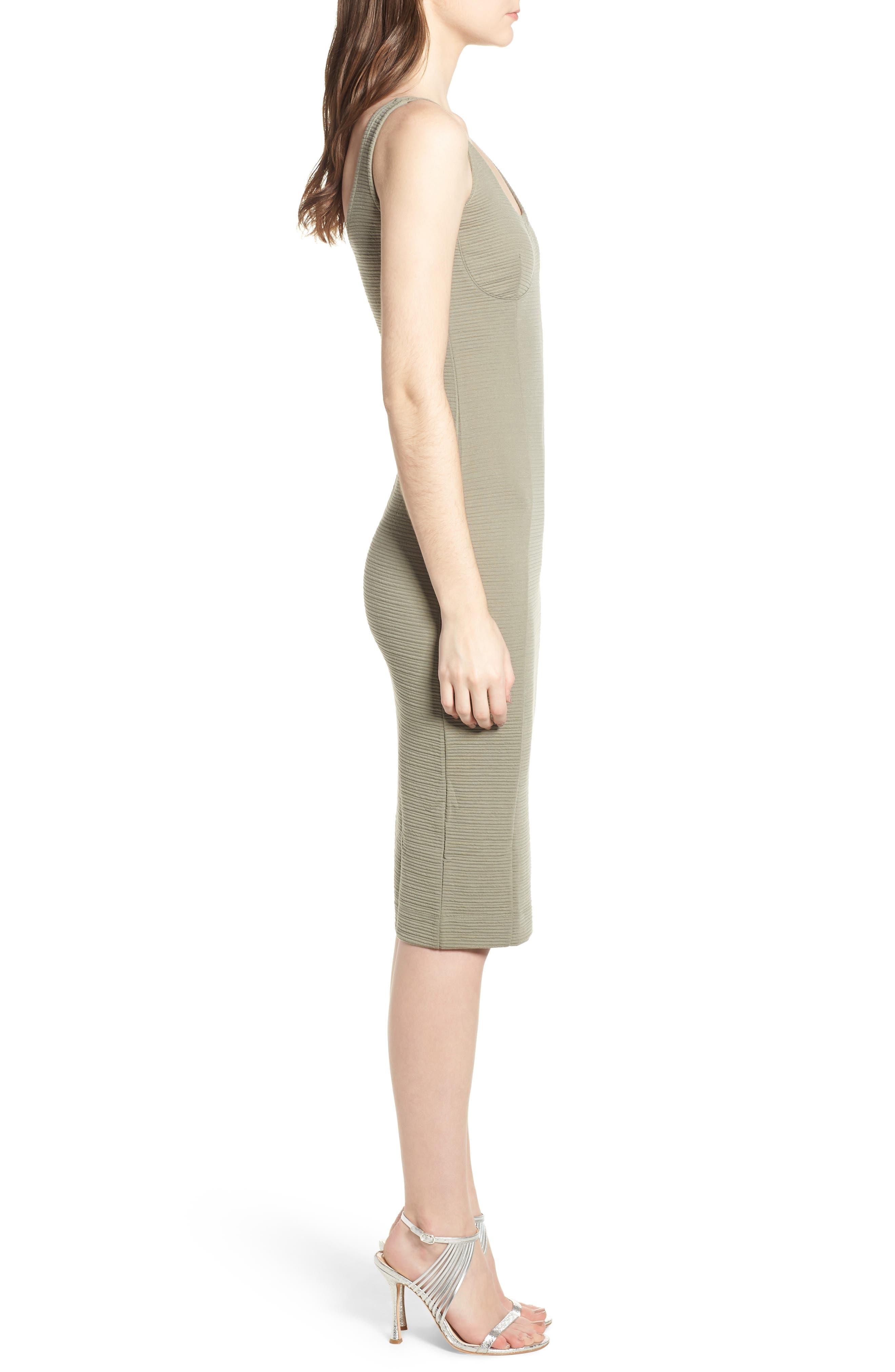 Underbust Rib Body-Con Dress,                             Alternate thumbnail 3, color,                             Olive