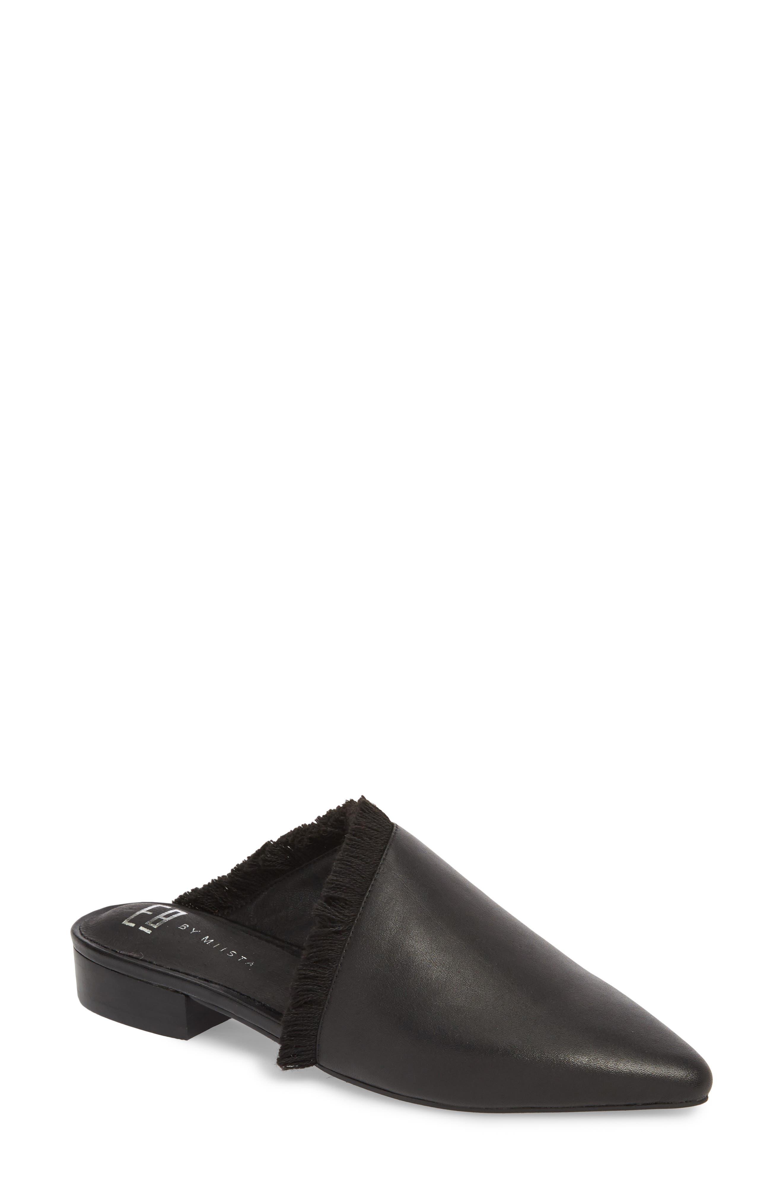 Leroy Asymmetrical Flat Mule,                             Main thumbnail 1, color,                             Black Leather