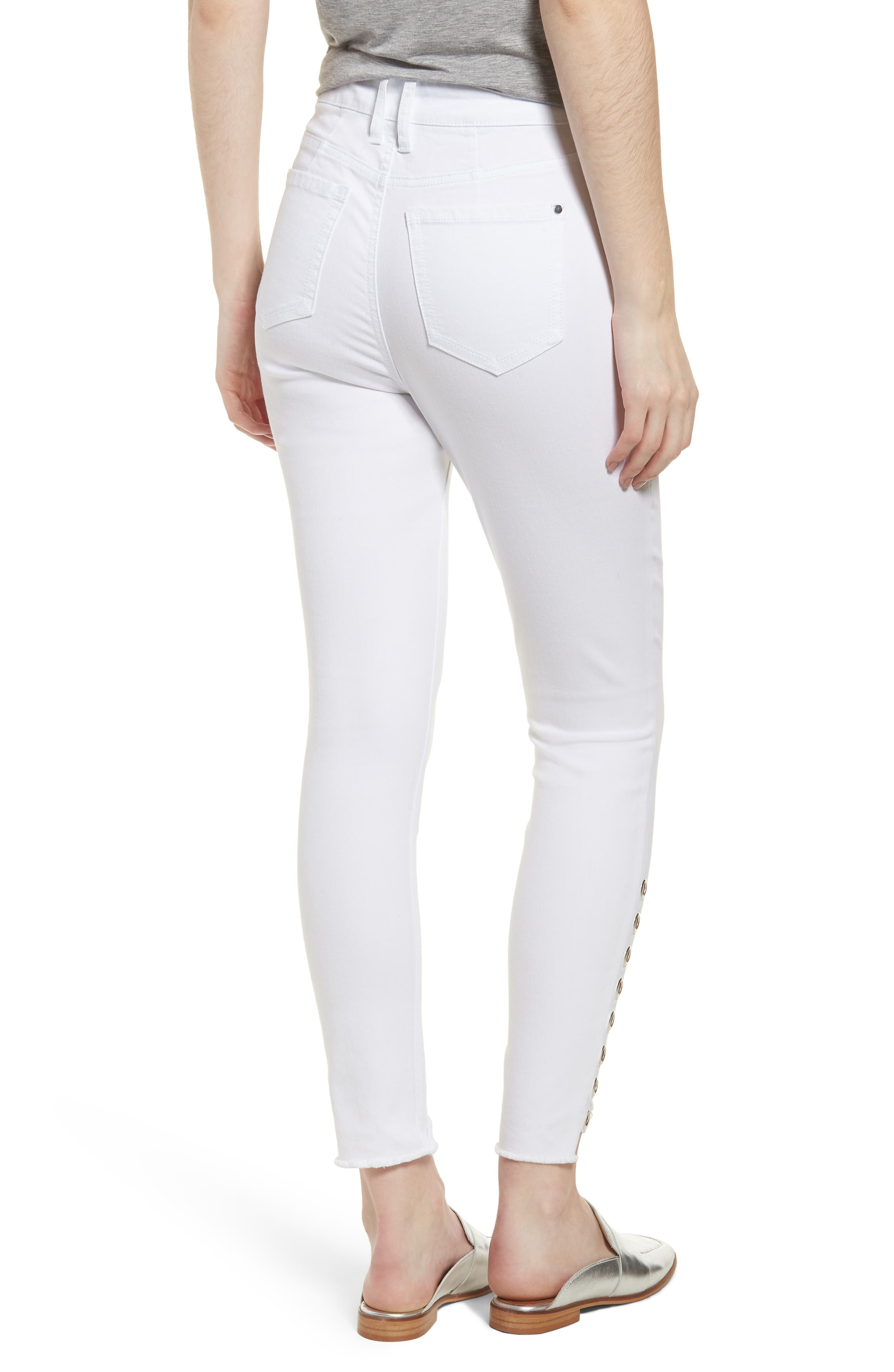 Grommet Detail Ankle Skinny Jeans,                             Alternate thumbnail 2, color,                             Optic White