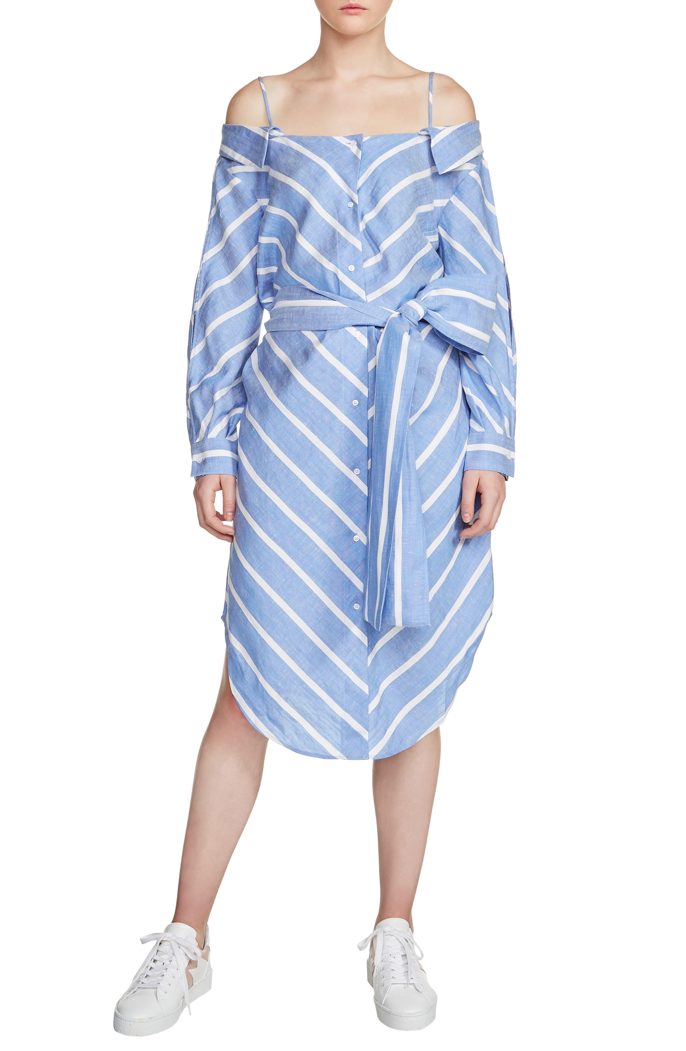 Rulylle Cold Shoulder Shirtdress,                             Main thumbnail 1, color,                             Bleu