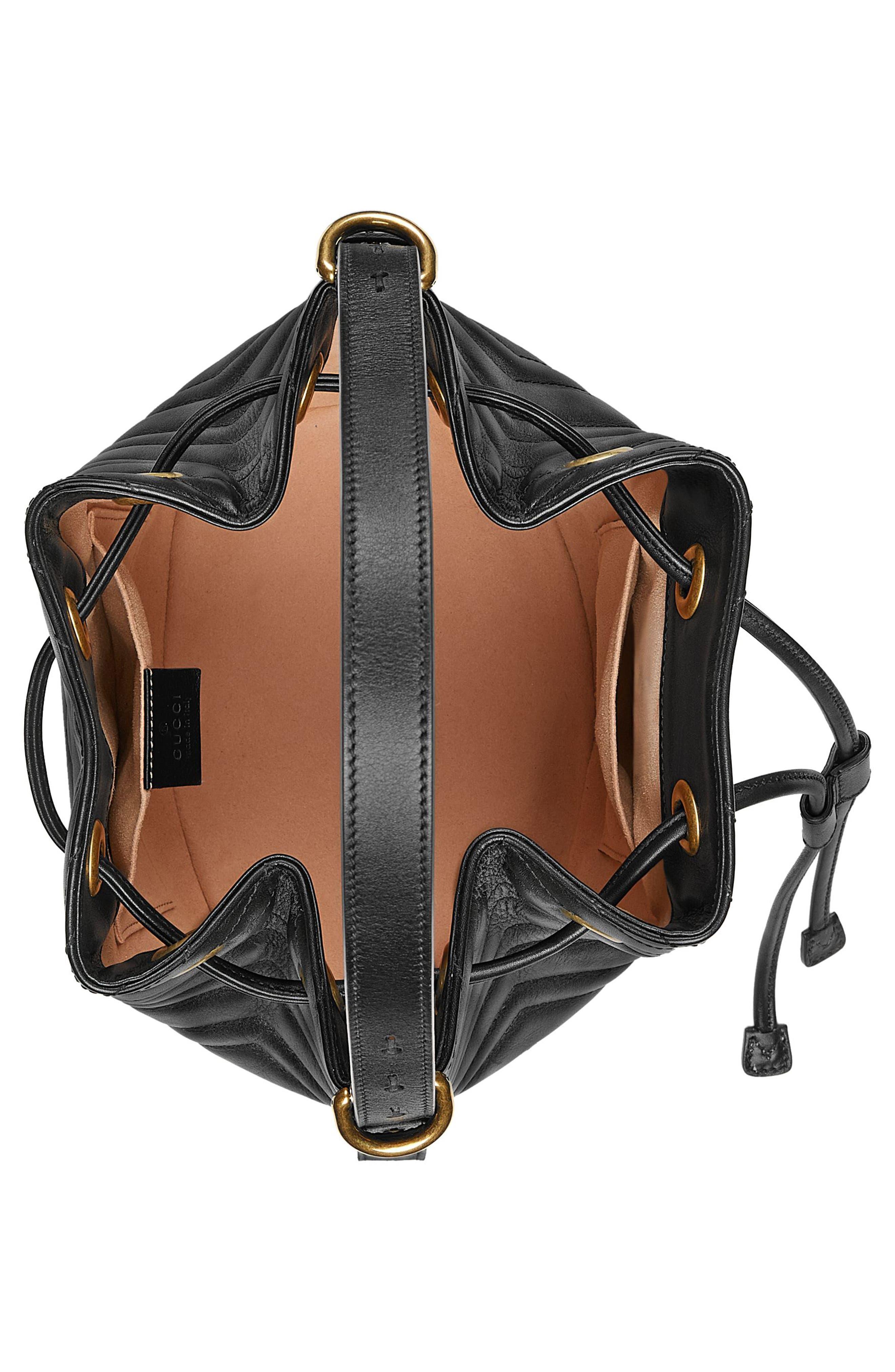 GG Marmont 2.0 Matelassé Leather Bucket Bag,                             Alternate thumbnail 3, color,                             Nero
