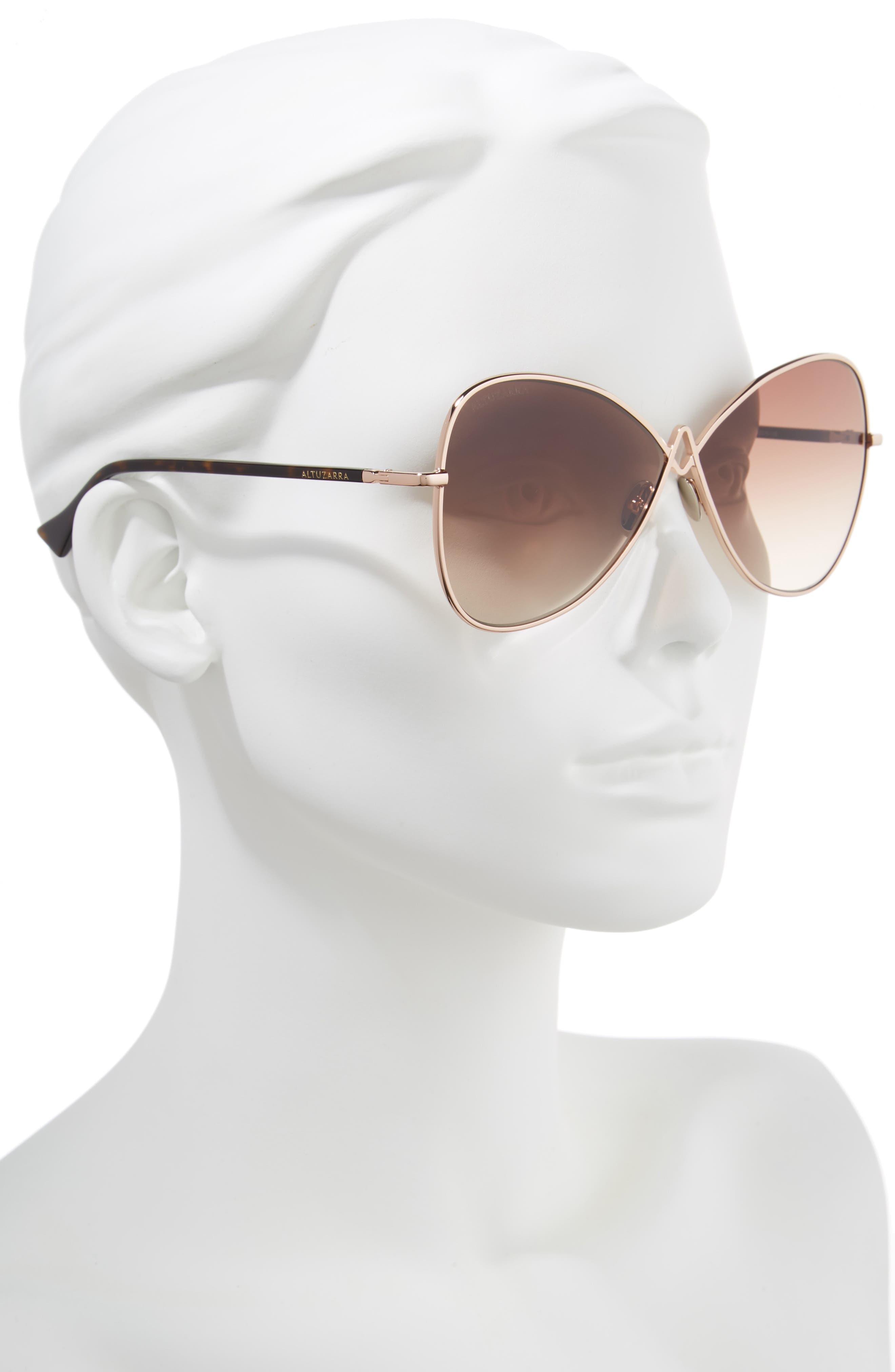 62mm Sunglasses,                             Alternate thumbnail 2, color,                             Rose Gold