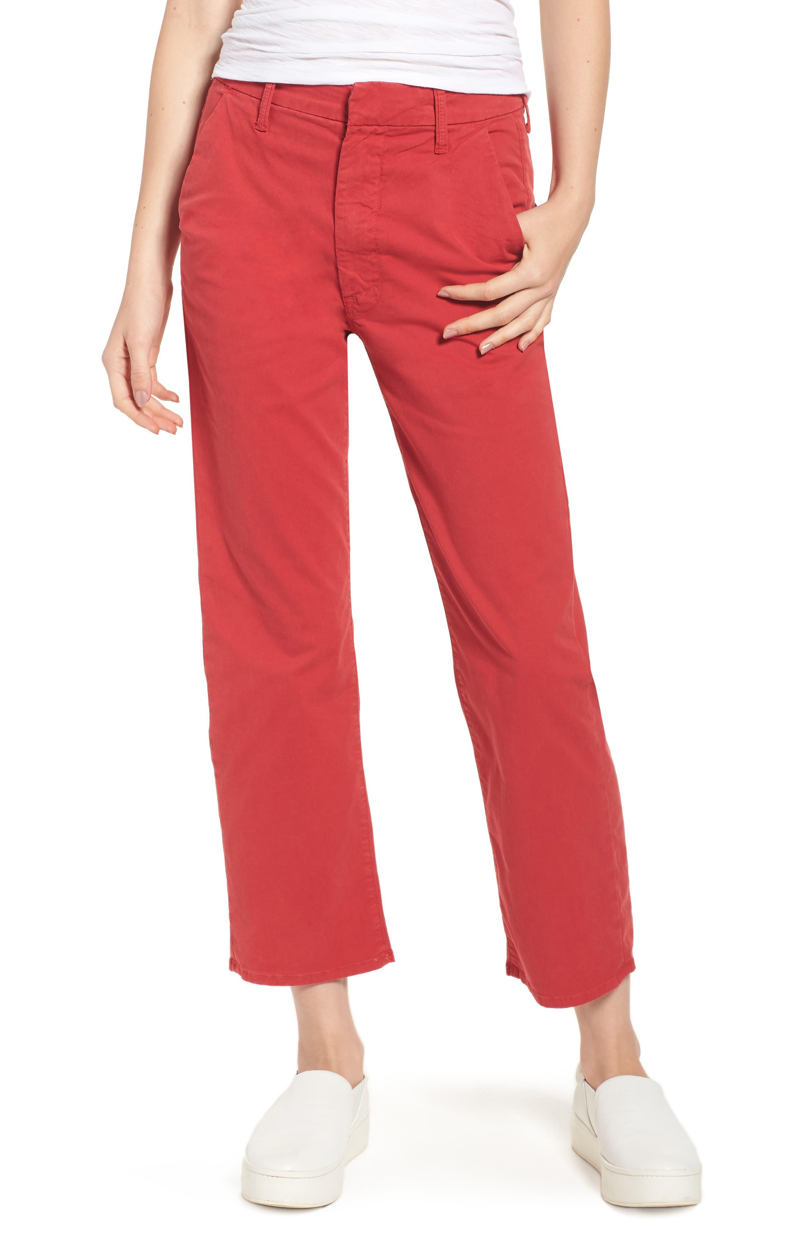 The Tomcat Prep Crop Twill Pants,                         Main,                         color, Poppy