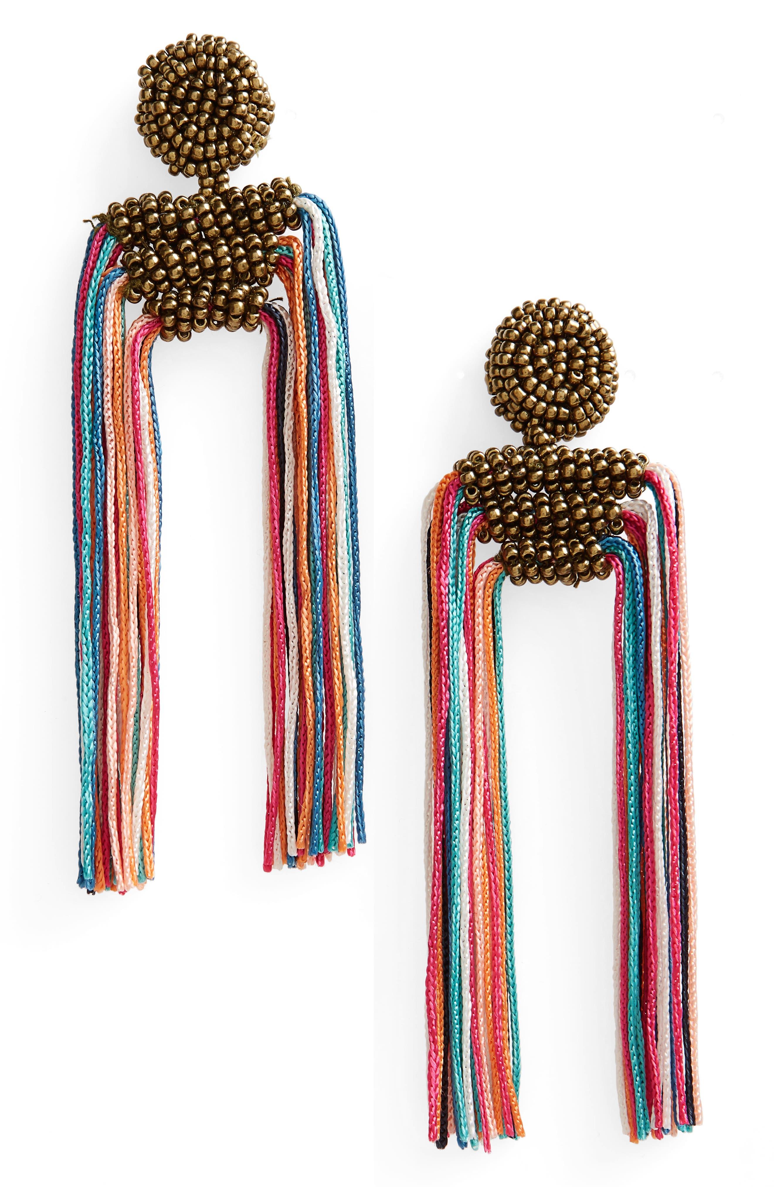 Tropicana Tassel Earrings,                         Main,                         color, Multi Combo