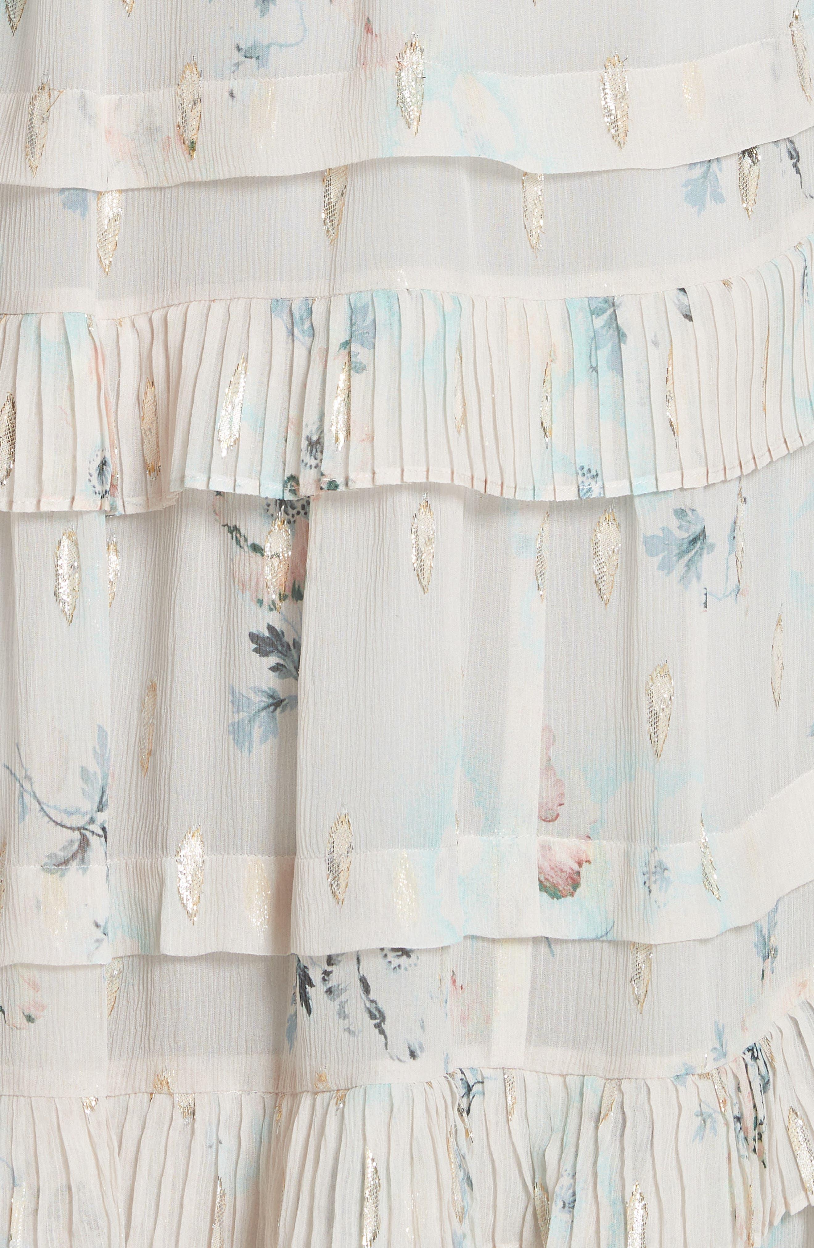 Metallic Faded Floral Midi Dress,                             Alternate thumbnail 5, color,                             Stone