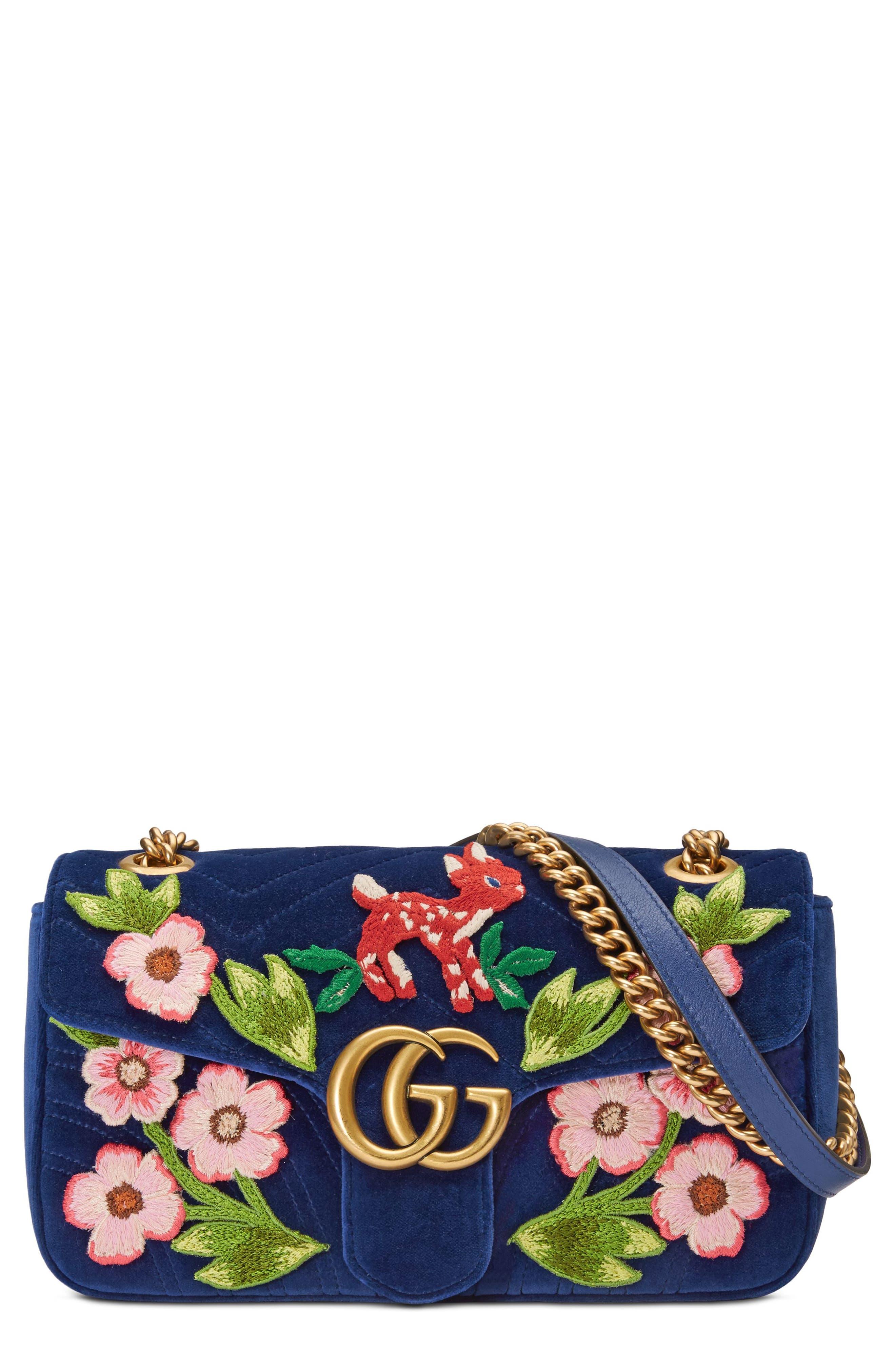 Small GG Marmont 2.0 Matelassé Velvet Shoulder Bag,                             Main thumbnail 1, color,                             Cobalt/ Cobalt Multicolor