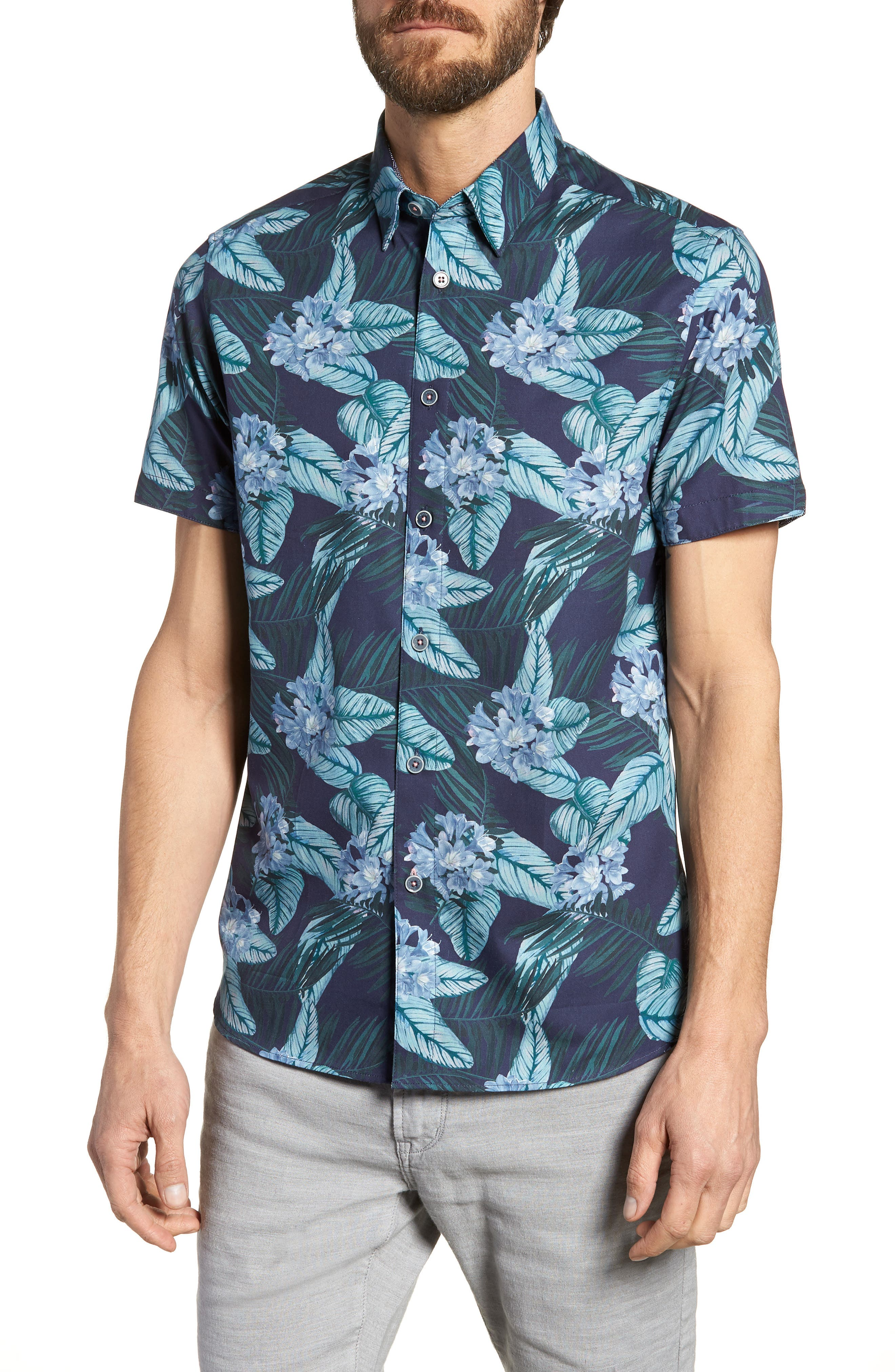Folinor Slim Fit Floral Cotton Shirt,                             Main thumbnail 1, color,                             Navy
