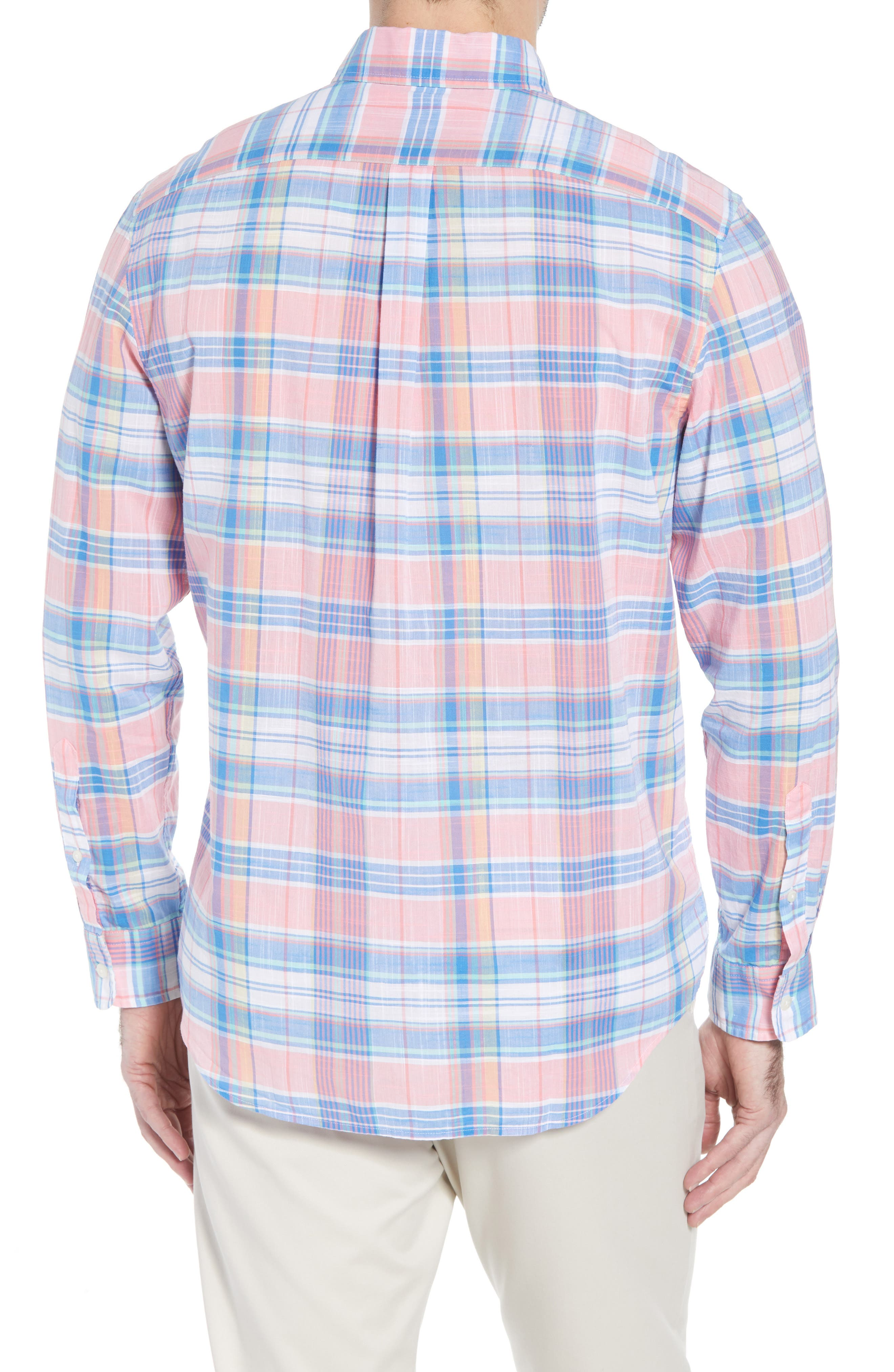 Smith Point Tucker Classic Fit Plaid Sport Shirt,                             Alternate thumbnail 3, color,                             Washed Neon Pink