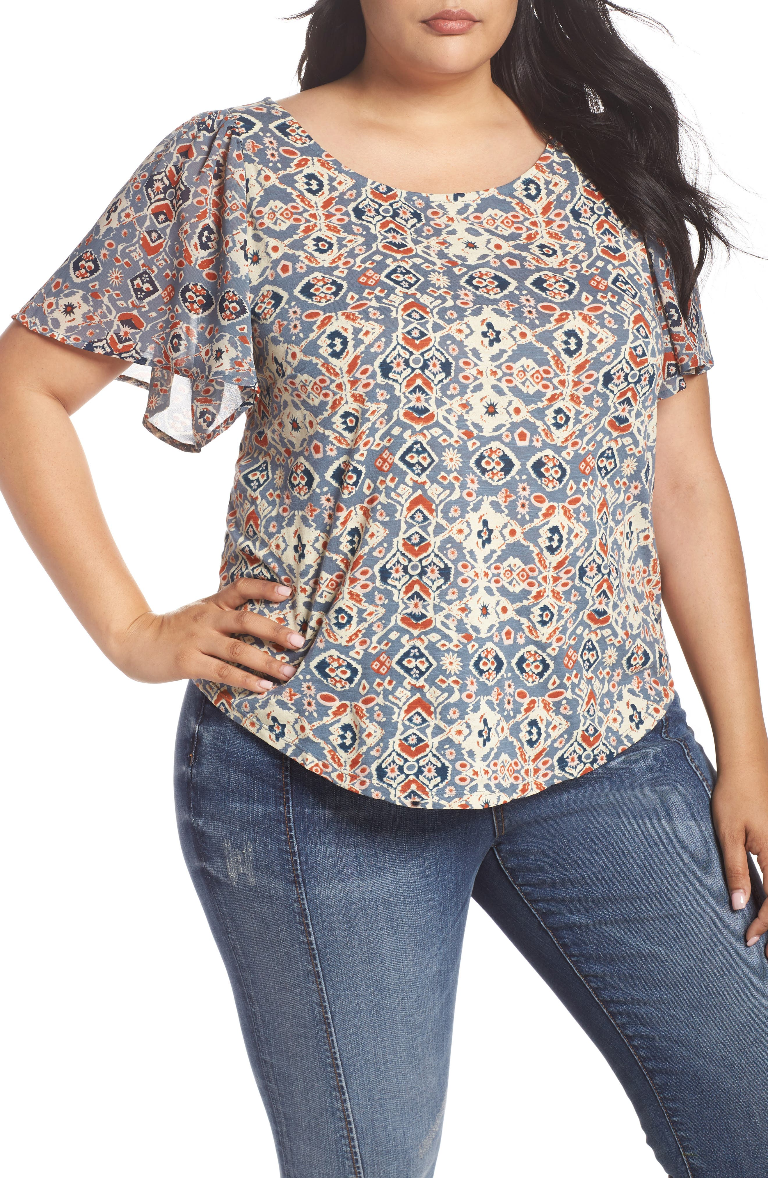 Lucky Brand Mosaic Print Top (Plus Size)