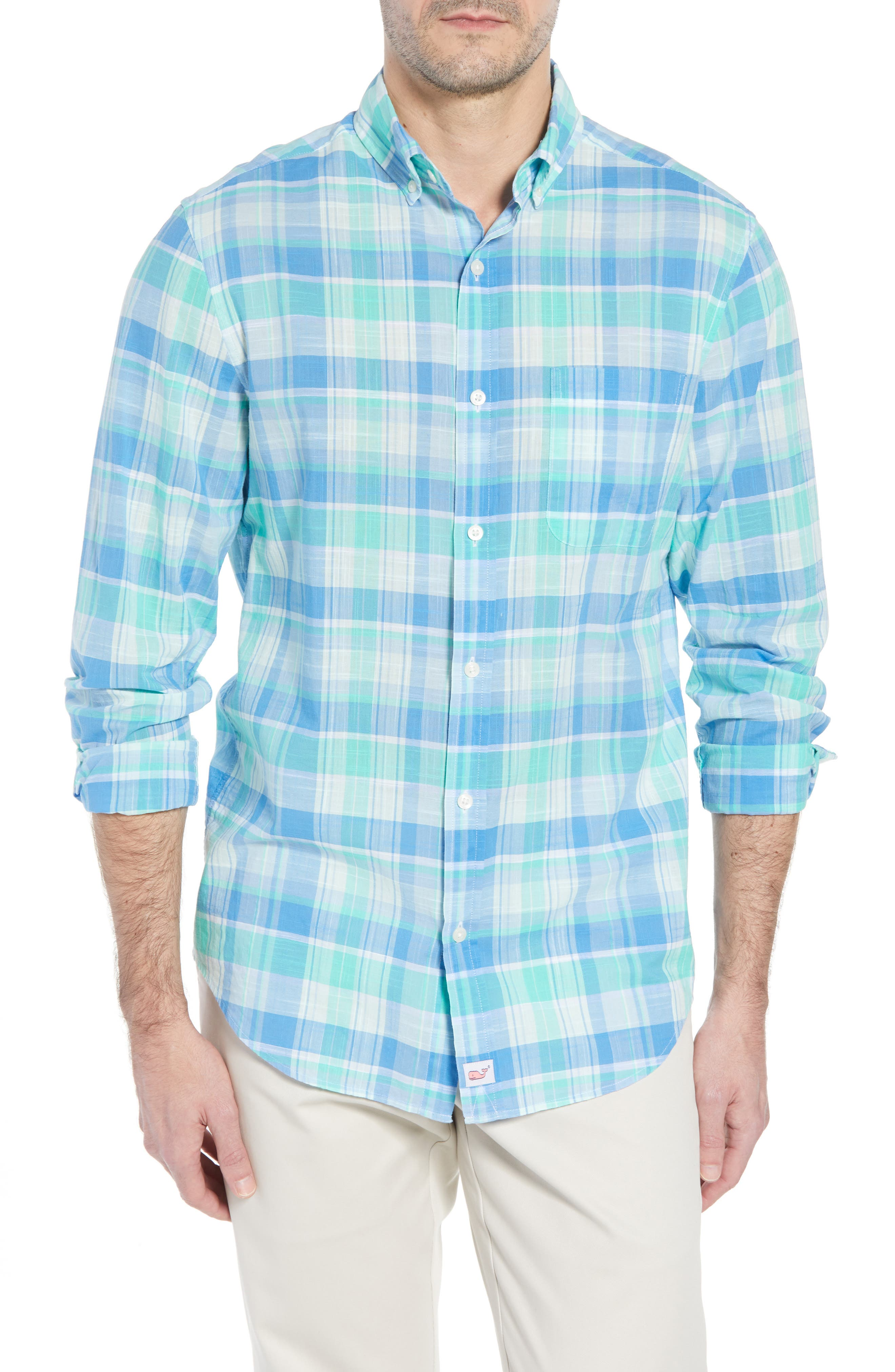 Homer Pond Murray Classic Fit Plaid Sport Shirt,                         Main,                         color, Antigua Green