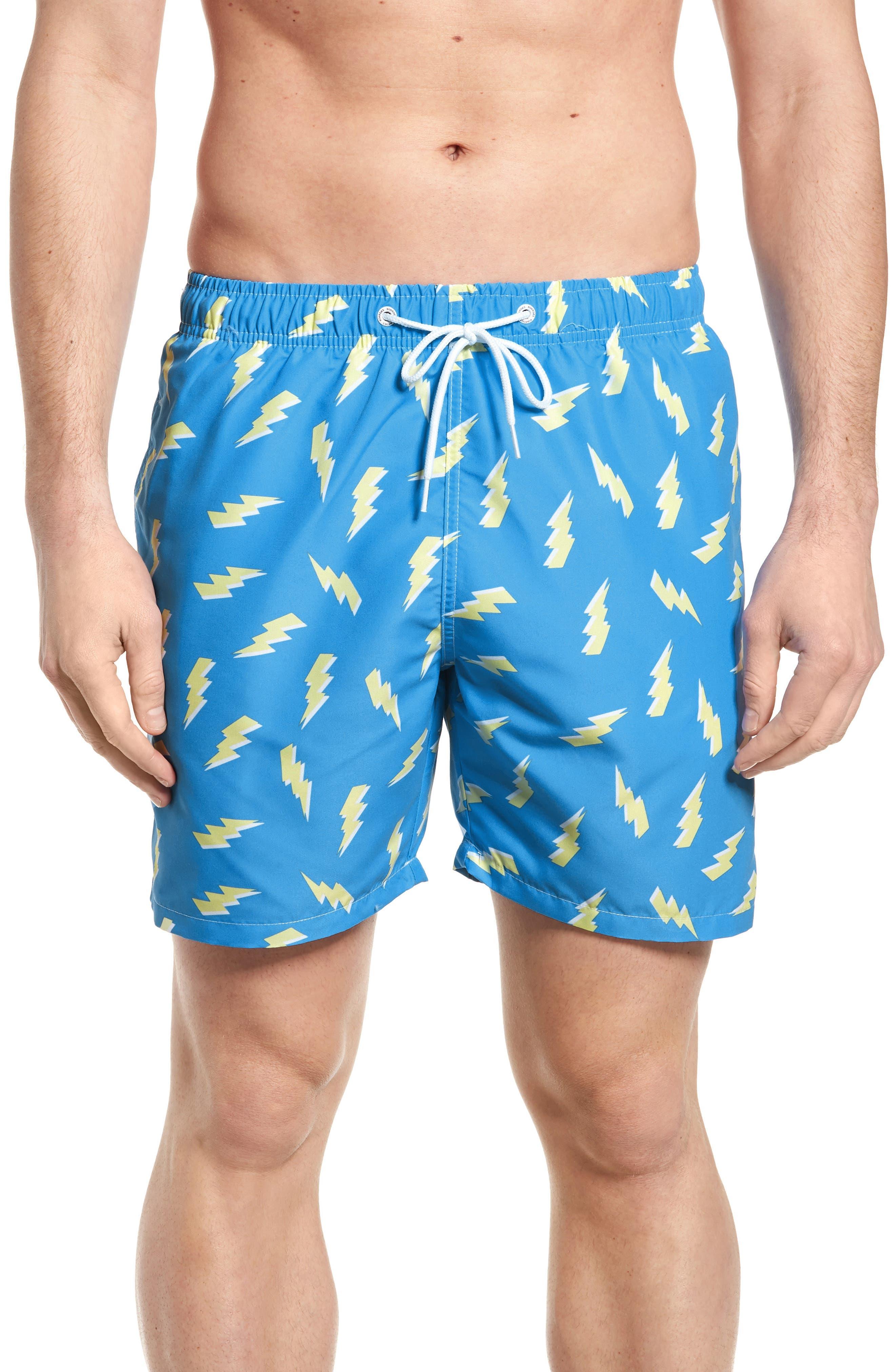 Zaps Print Swim Trunks,                         Main,                         color, Blue