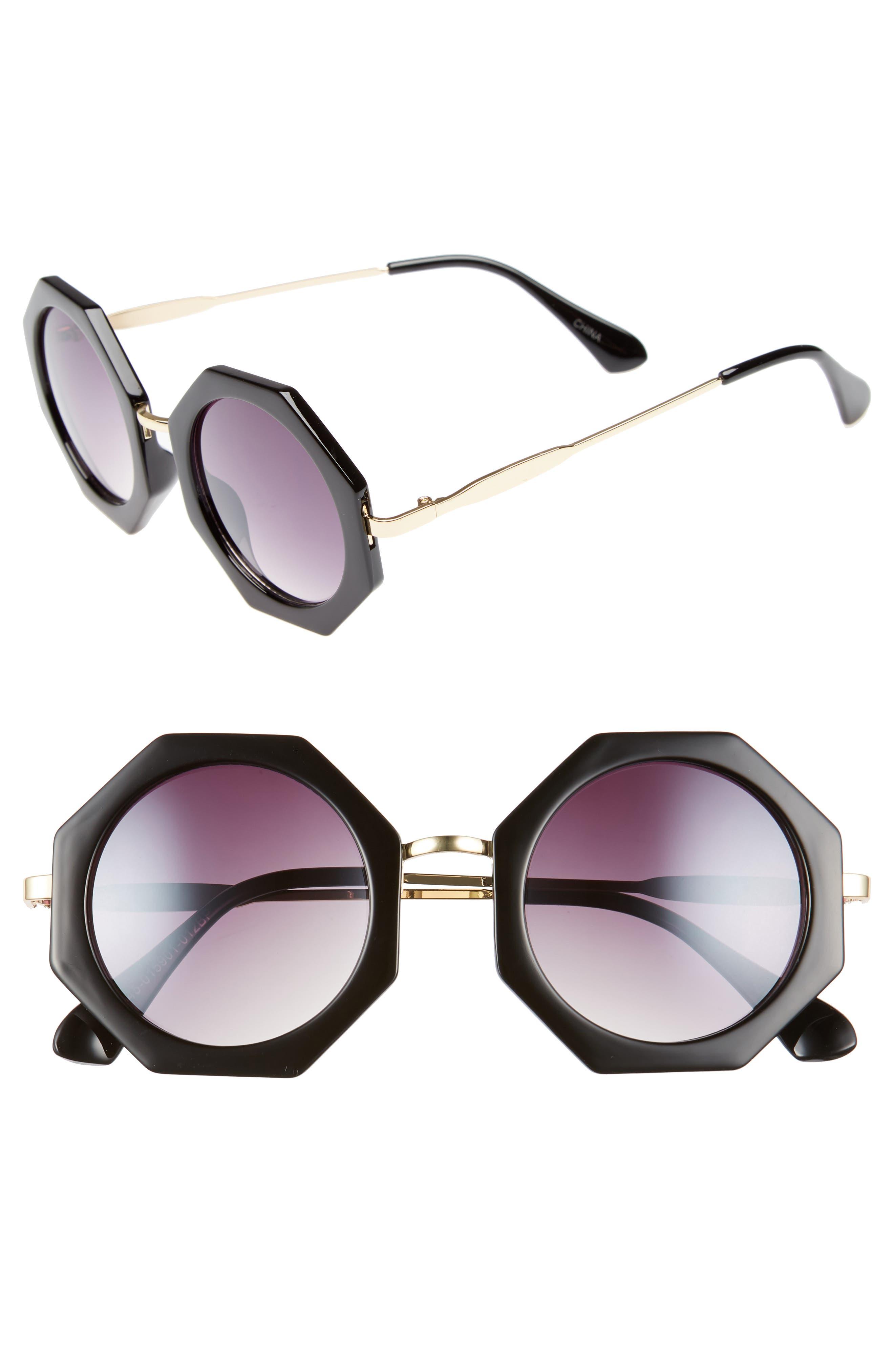54m Hexagonal Sunglasses,                         Main,                         color, Black/ Gold