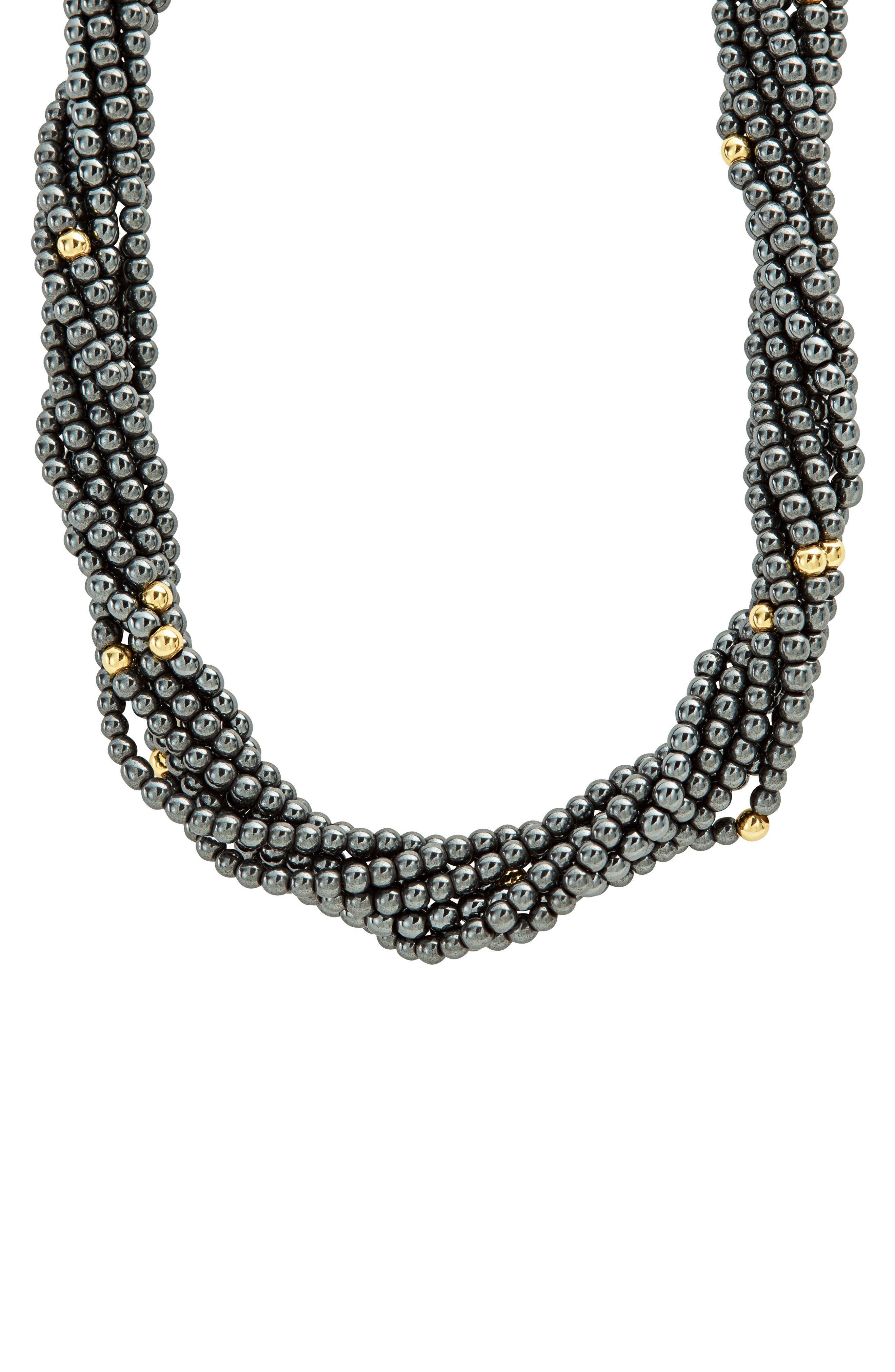 Caviar Icon Hematite Necklace,                             Alternate thumbnail 2, color,                             Hematite