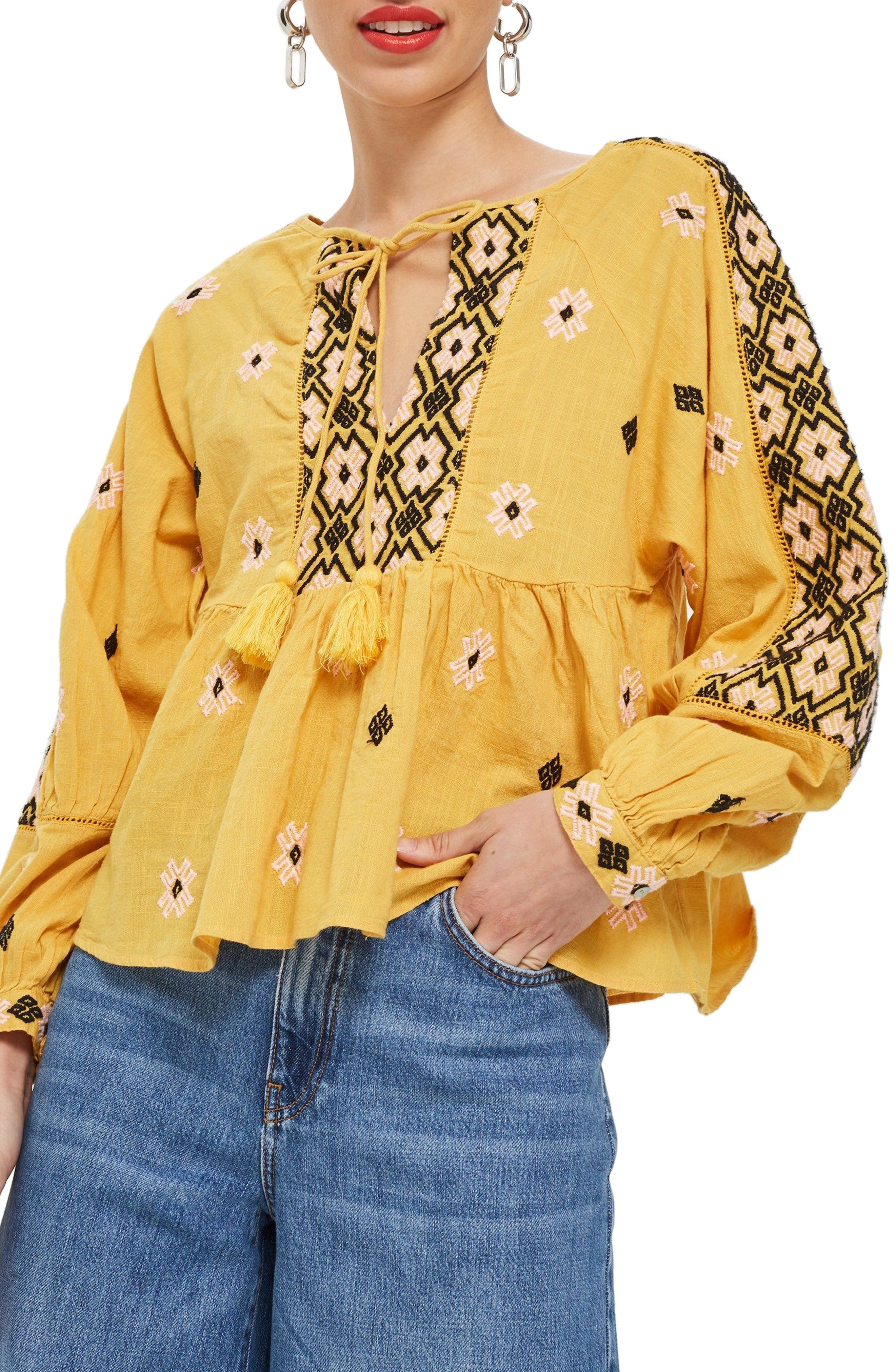 Embroidered Ruffle Hem Top,                             Main thumbnail 1, color,                             Yellow Multi