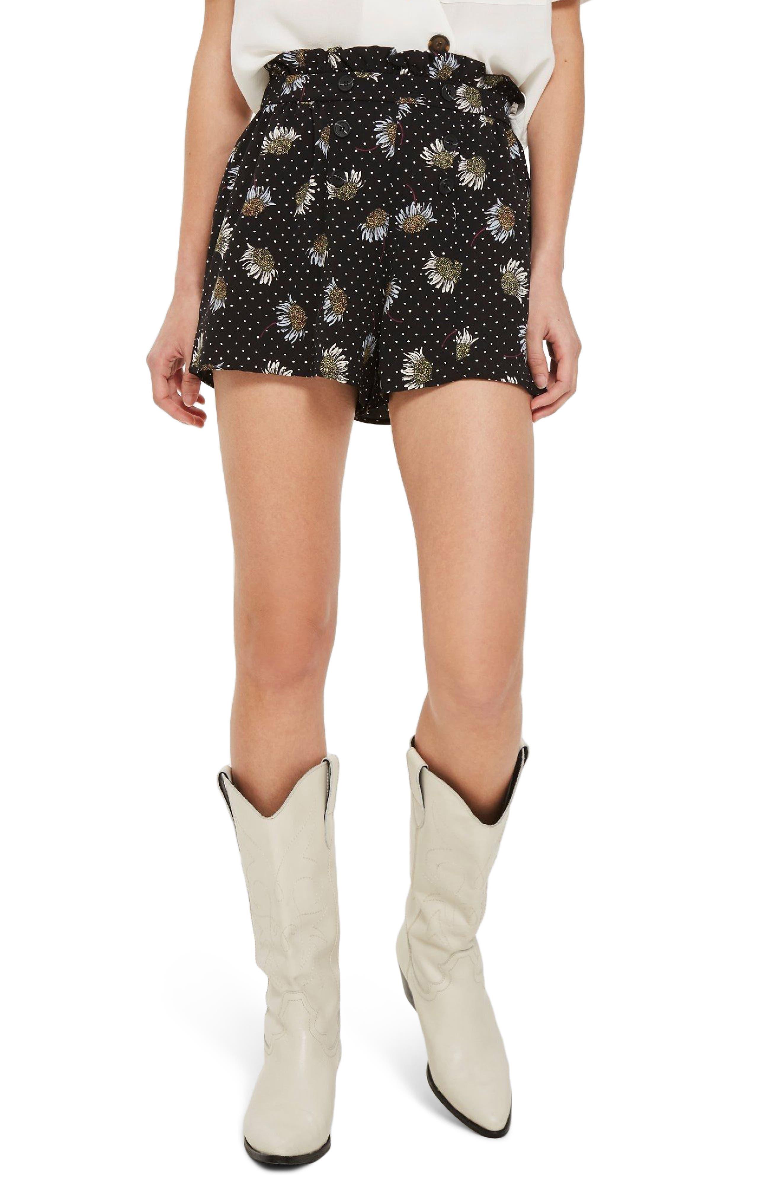 Daisy Print Frill Waist Shorts,                             Main thumbnail 1, color,                             Black Multi