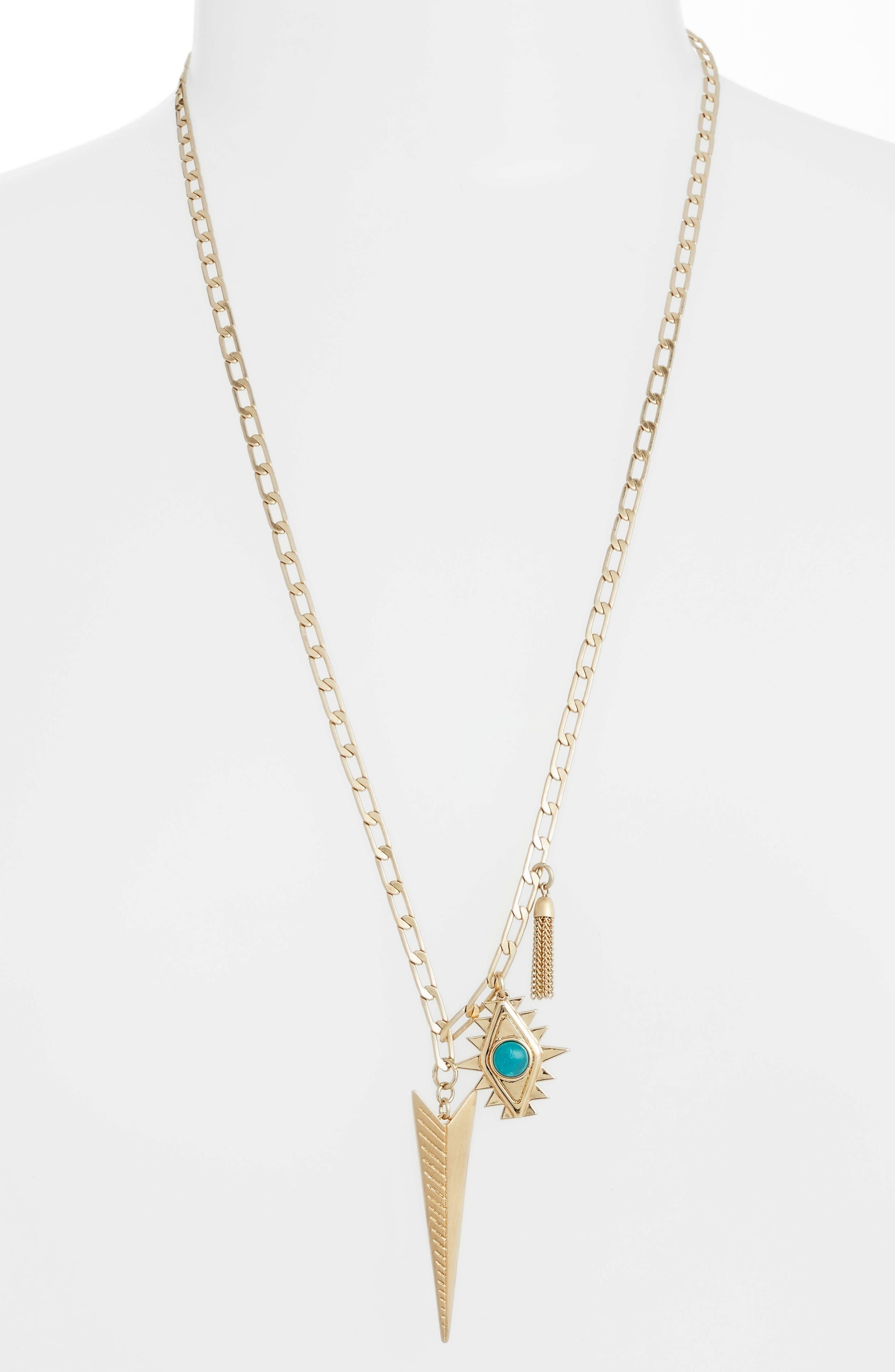 Arrowhead Pendant Necklace,                             Main thumbnail 1, color,                             Gold