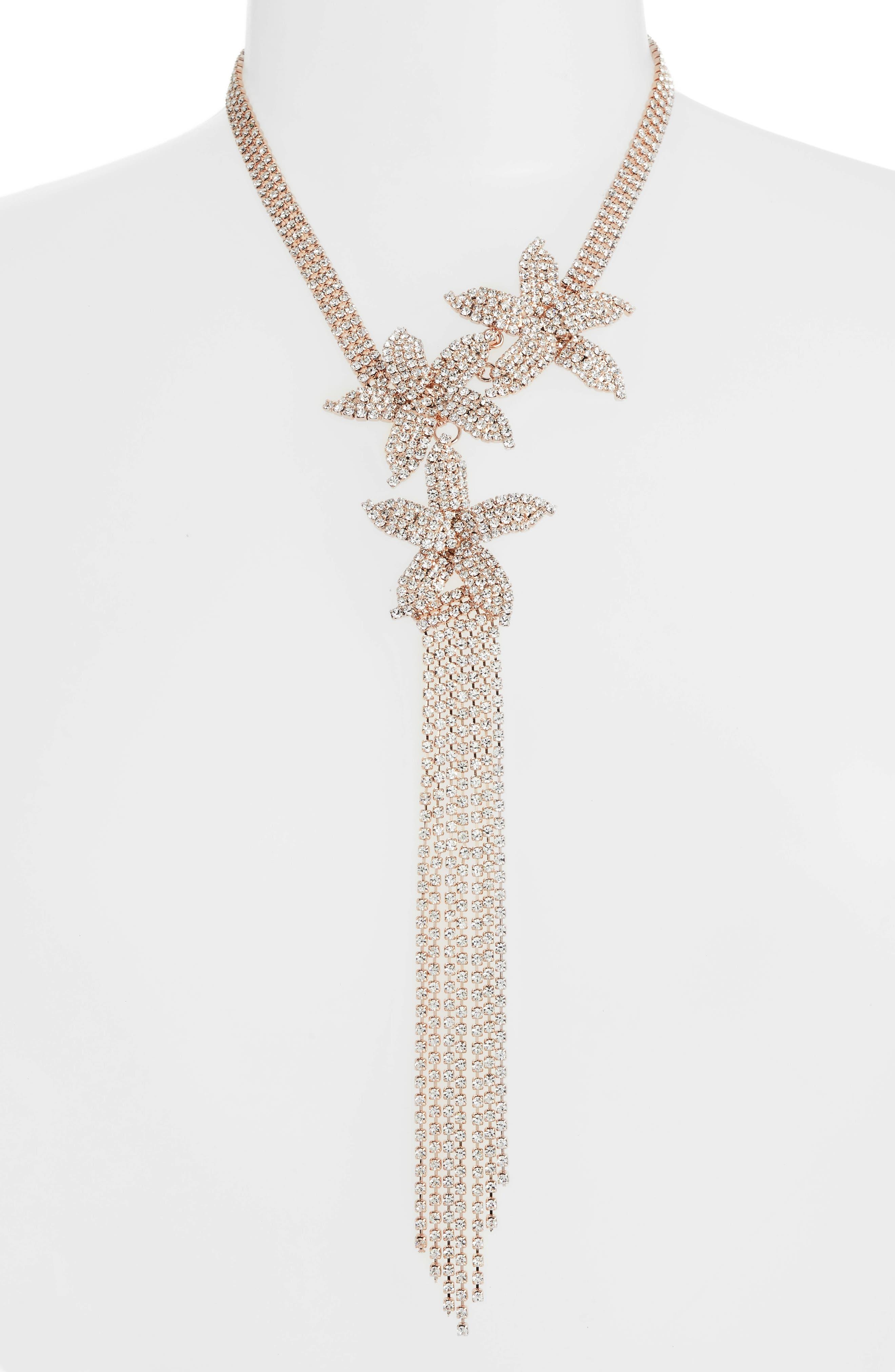 CRISTABELLE Flower Trio Fringe Y-Necklace