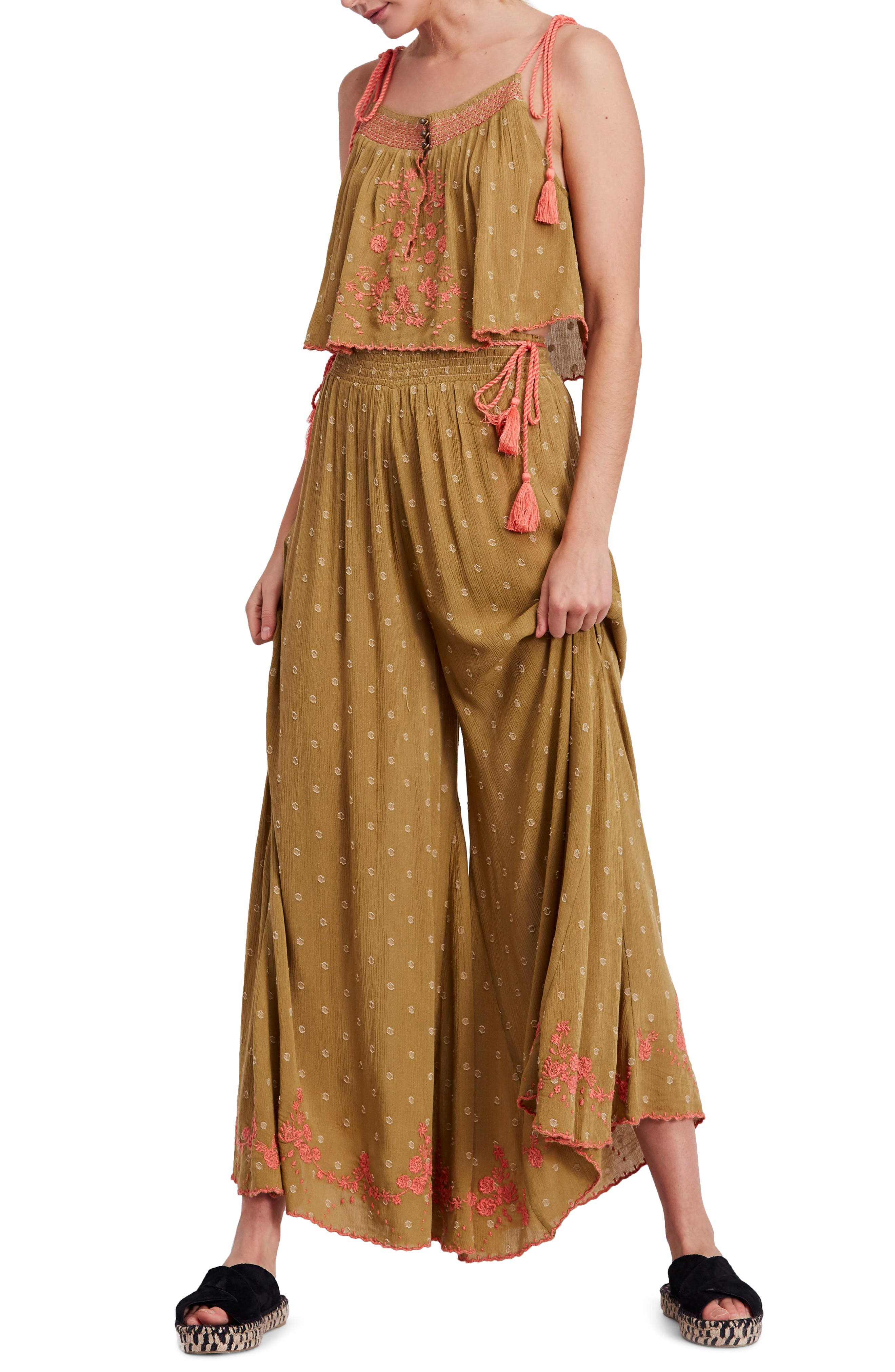 Hearts Rising Embroidered Top & Pants,                         Main,                         color, Moss