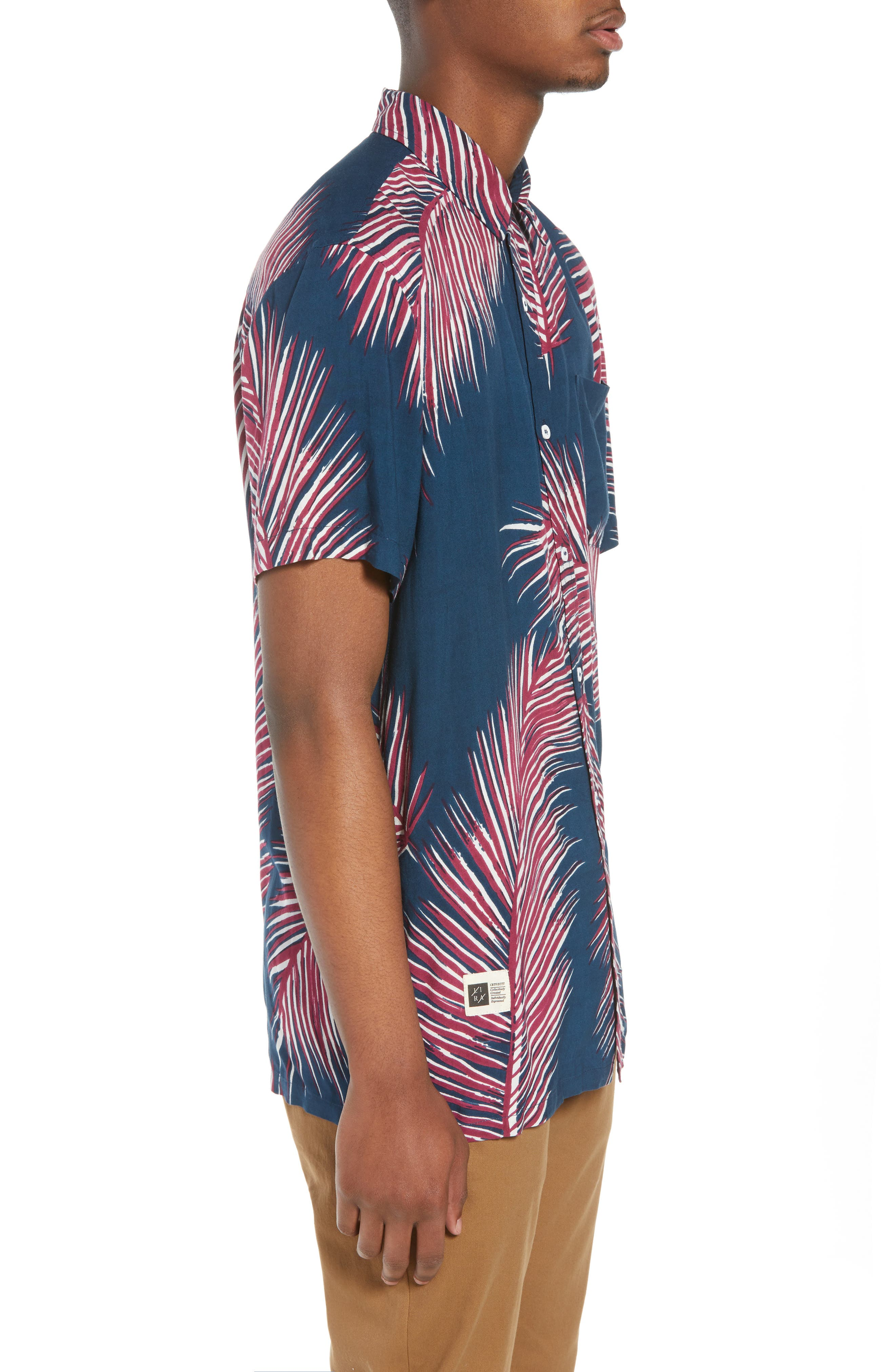Giant Palms Woven Shirt,                             Alternate thumbnail 4, color,                             Navy