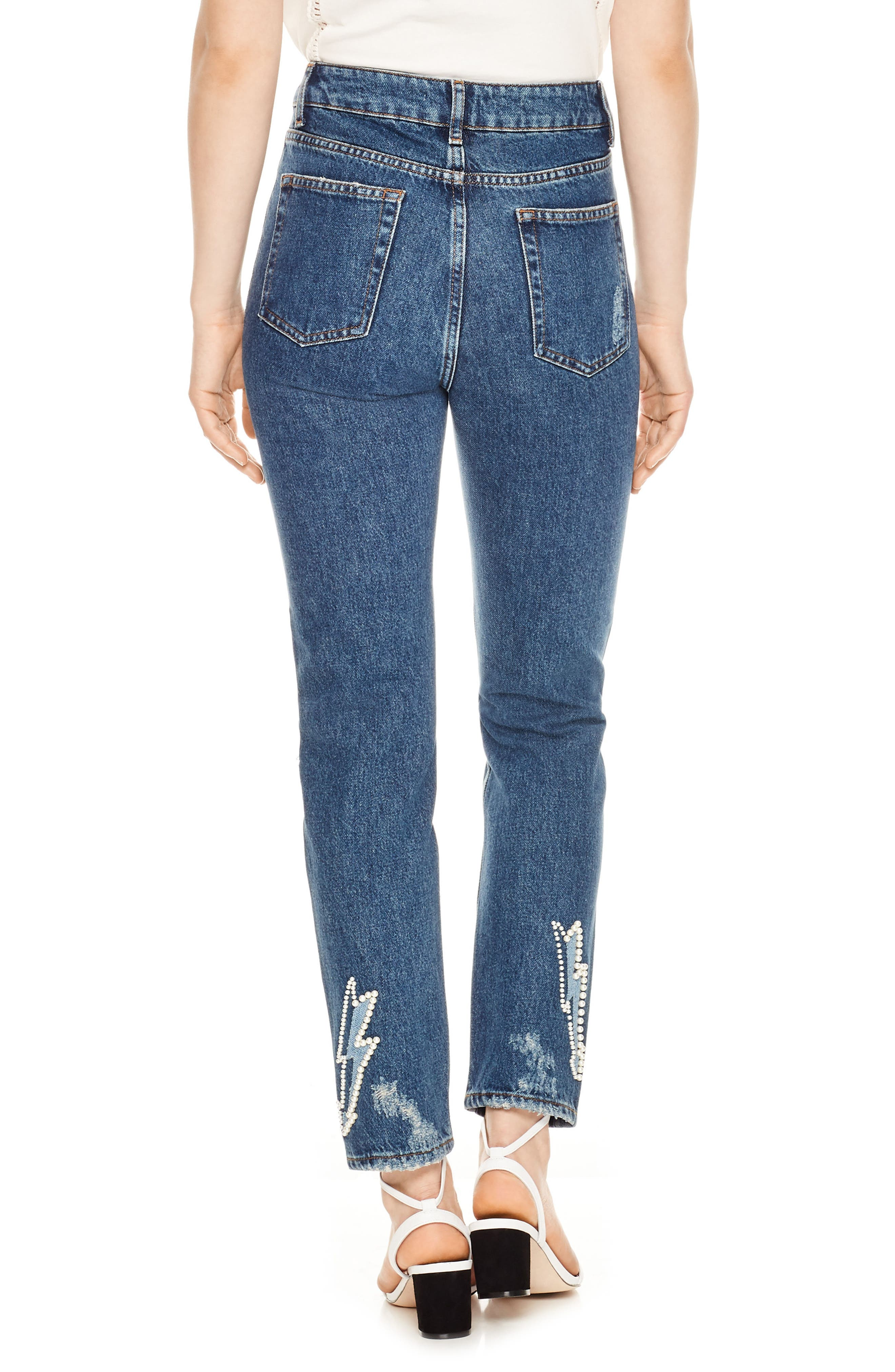 Ripped Lighting Bolt Jeans,                             Alternate thumbnail 2, color,                             Blue Vintage - Denim