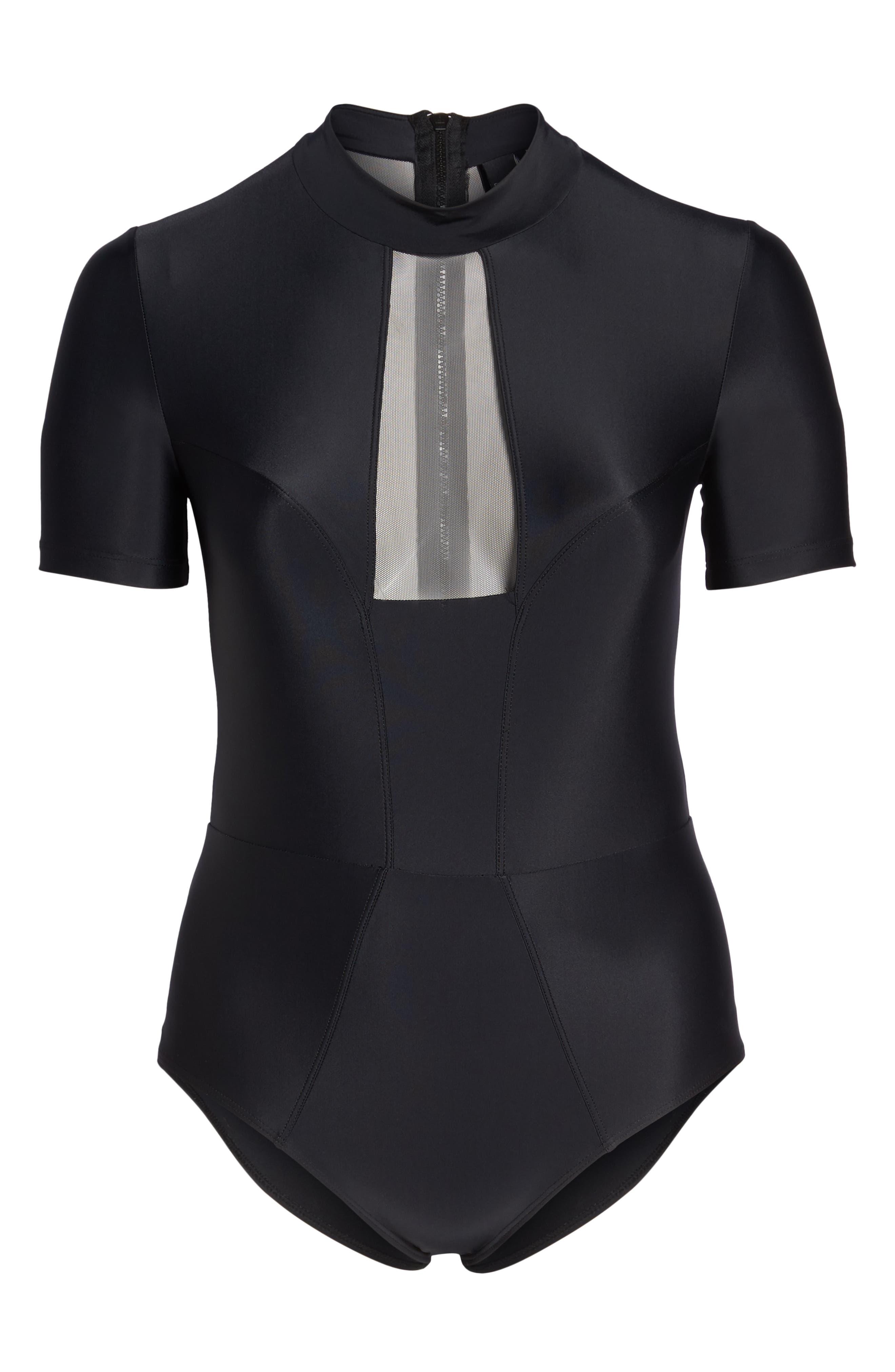 Tidal Back Zip One-Piece Swimsuit,                             Alternate thumbnail 6, color,                             Black