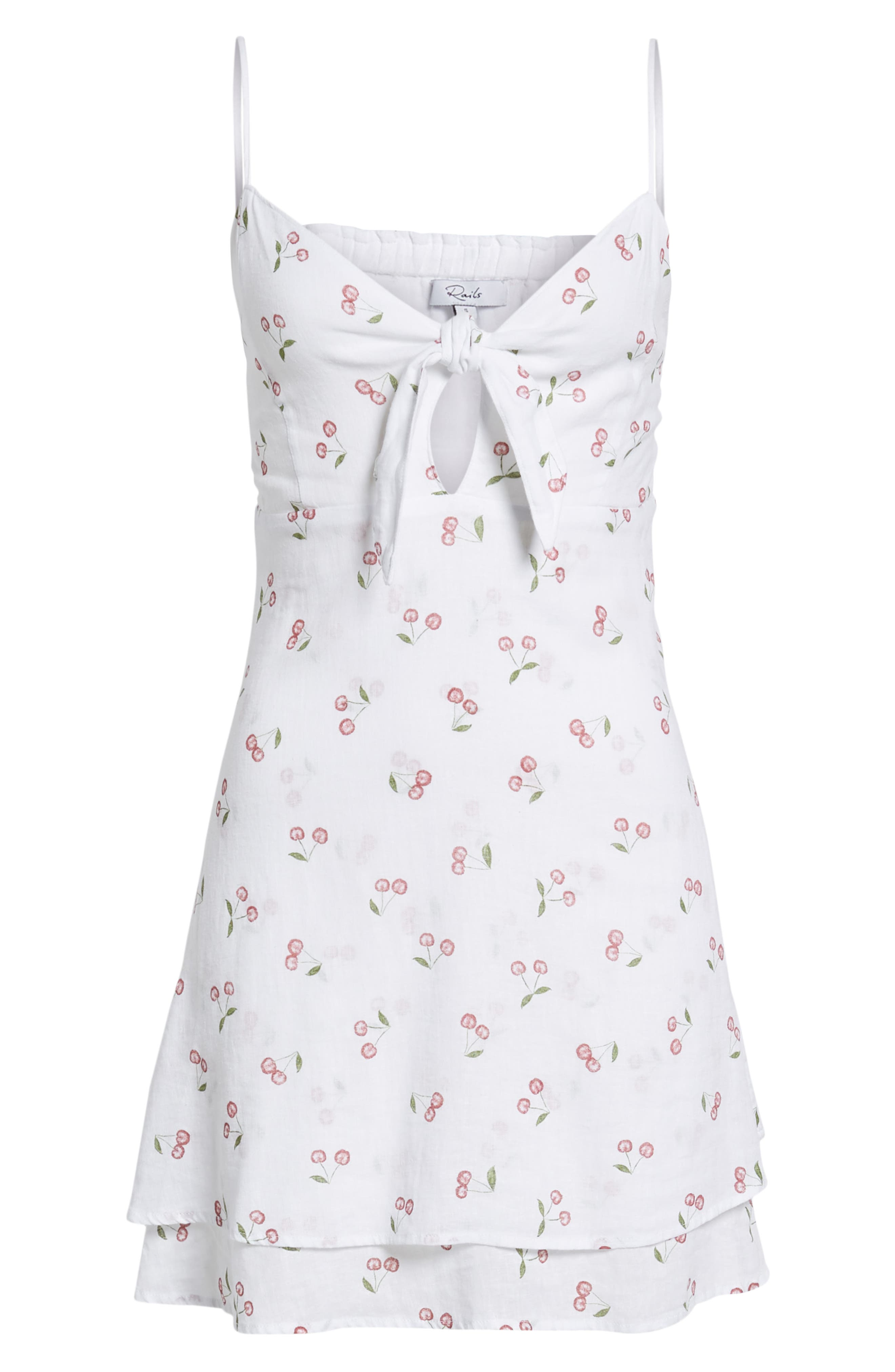 August Daisy Tie Front Dress,                             Alternate thumbnail 8, color,                             White Cherries