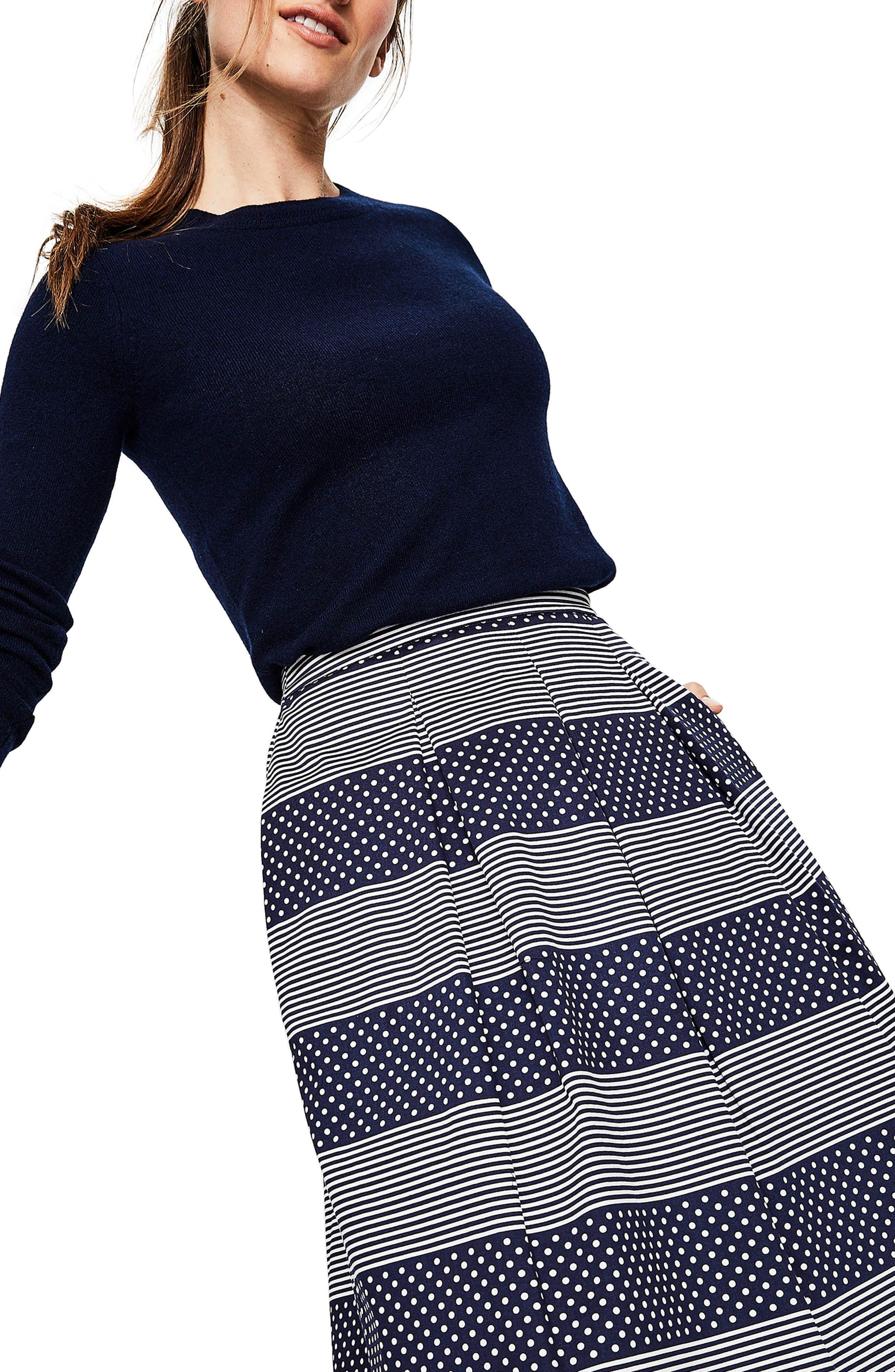 Lola Floral Flared Skirt,                             Alternate thumbnail 3, color,                             Navy/ Spot Stripe