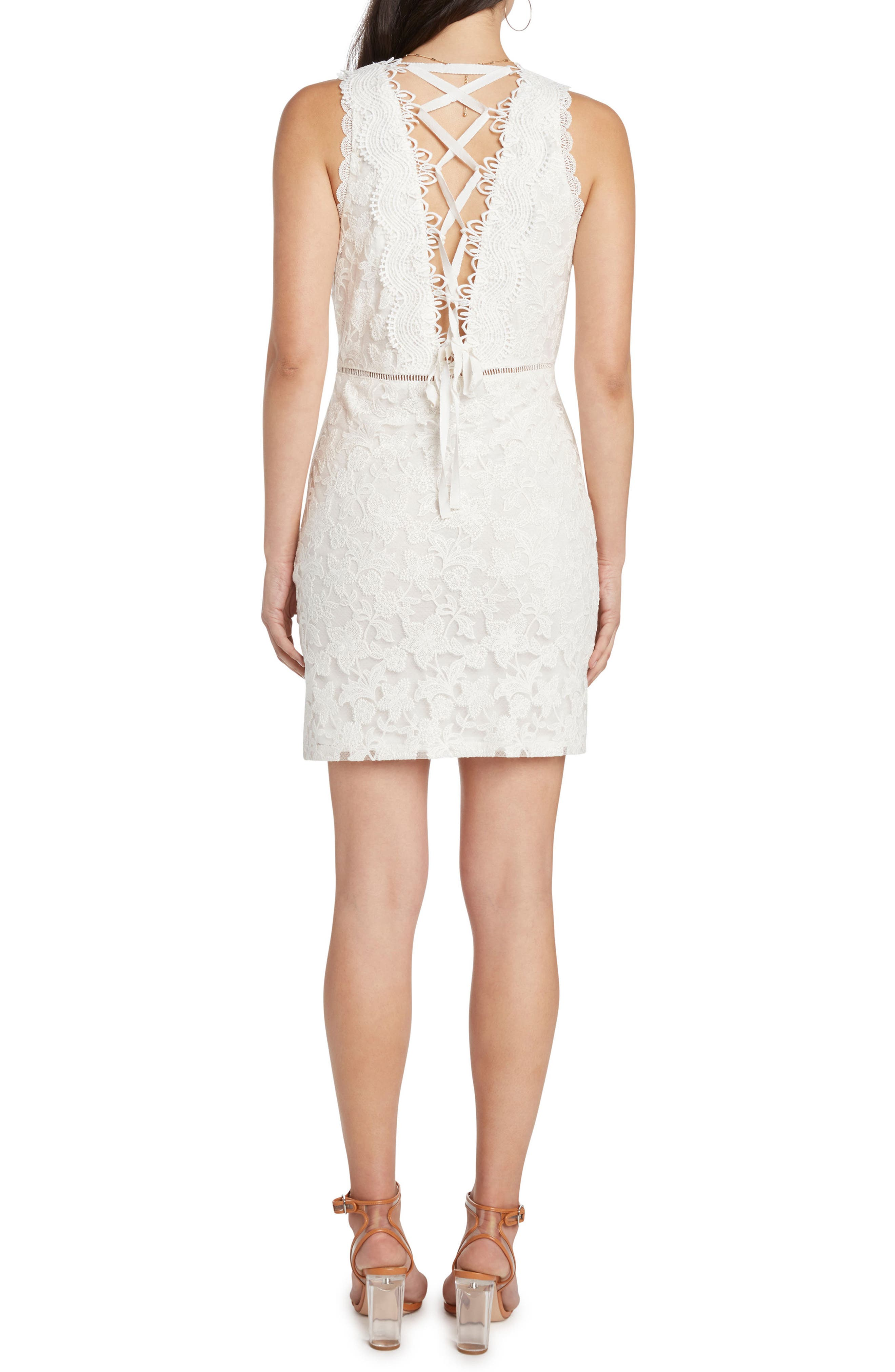 Lace Body-Con Dress,                             Alternate thumbnail 2, color,                             Vellum