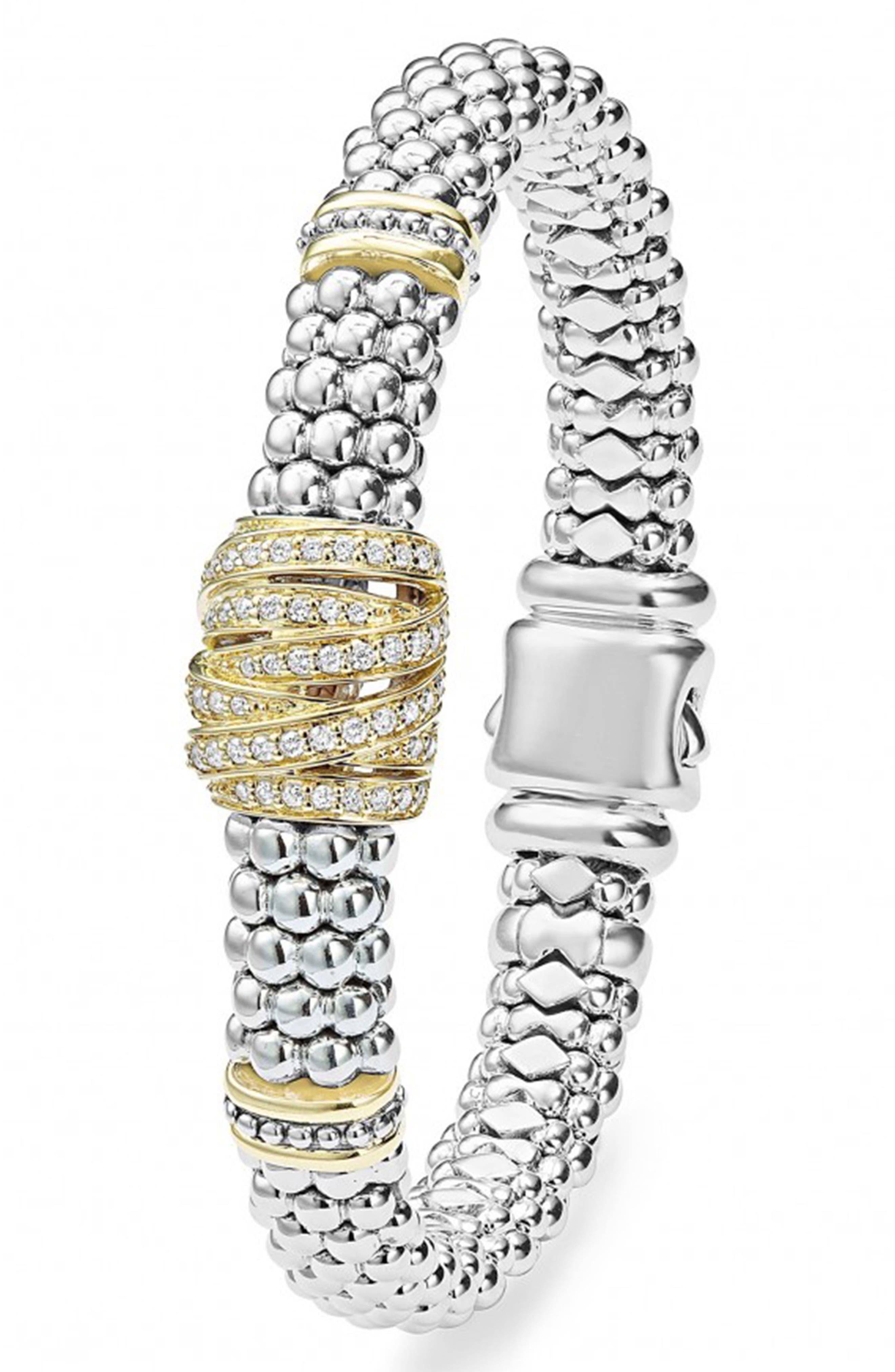 'Diamonds & Caviar' Diamond Rope Bracelet,                             Alternate thumbnail 2, color,                             Sterling Silver/ Gold