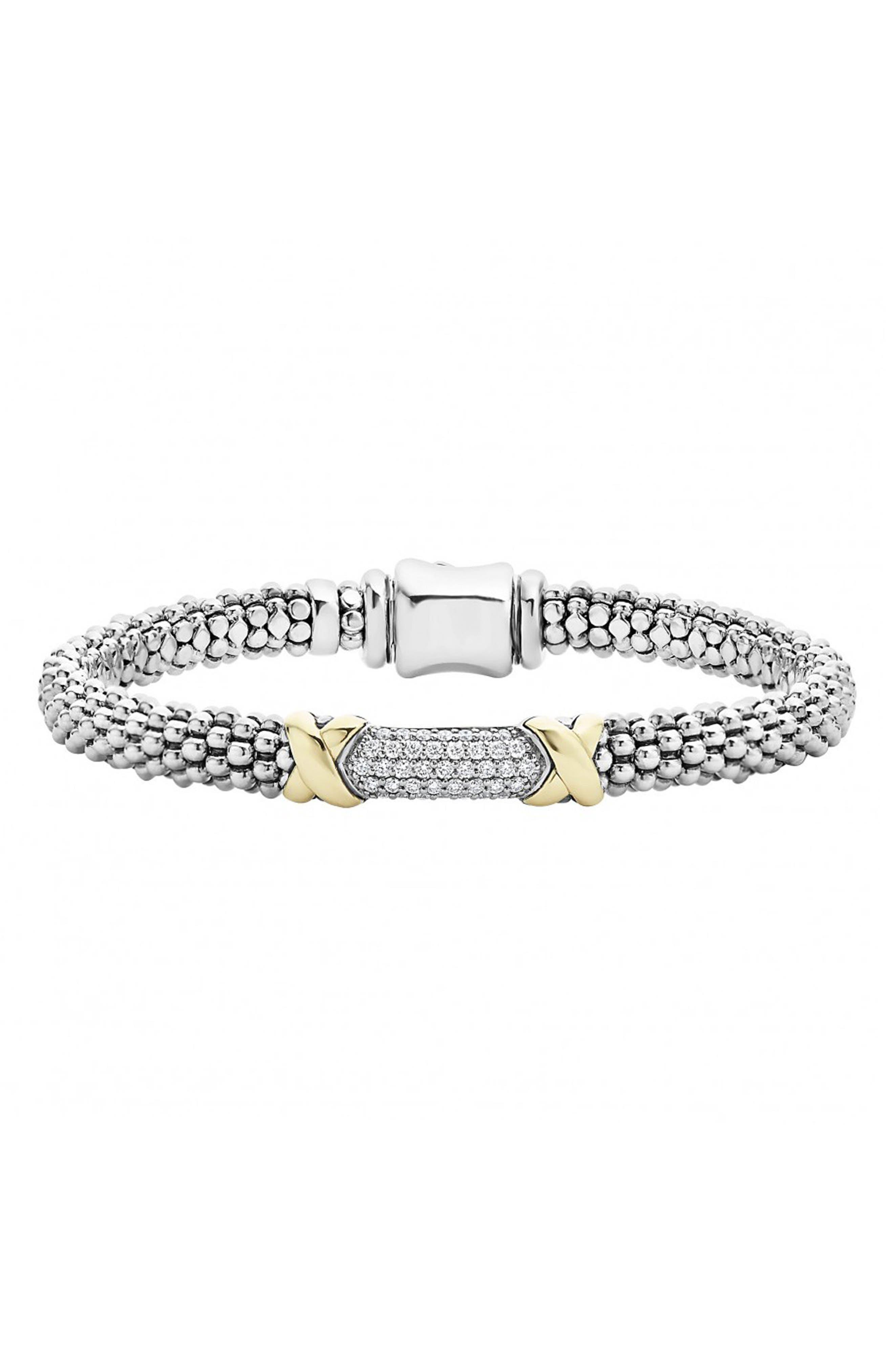 'Diamond Lux' Diamond Rope Bracelet,                             Main thumbnail 1, color,                             Silver/ Gold