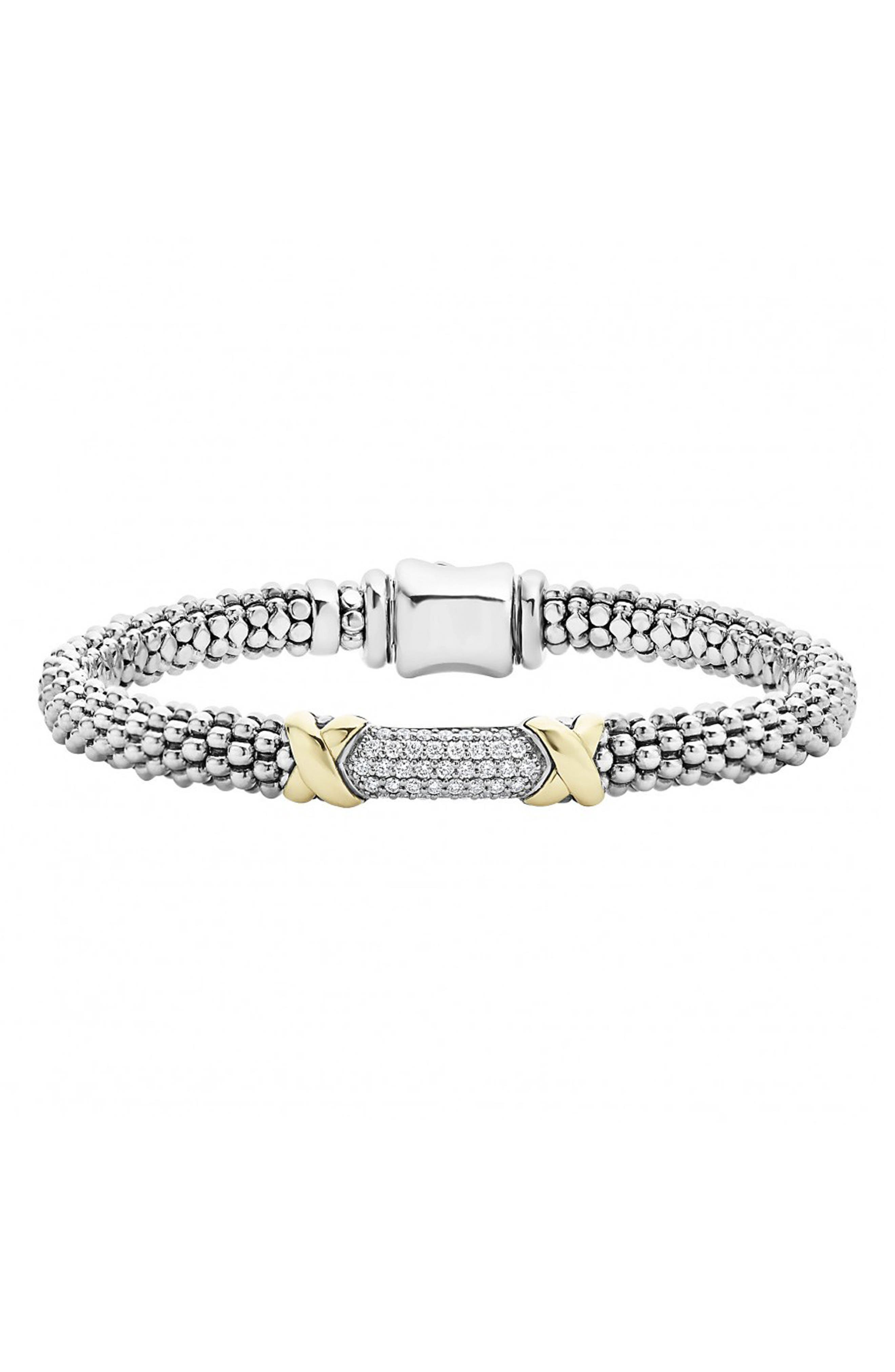 'Diamond Lux' Diamond Rope Bracelet,                         Main,                         color, Silver/ Gold