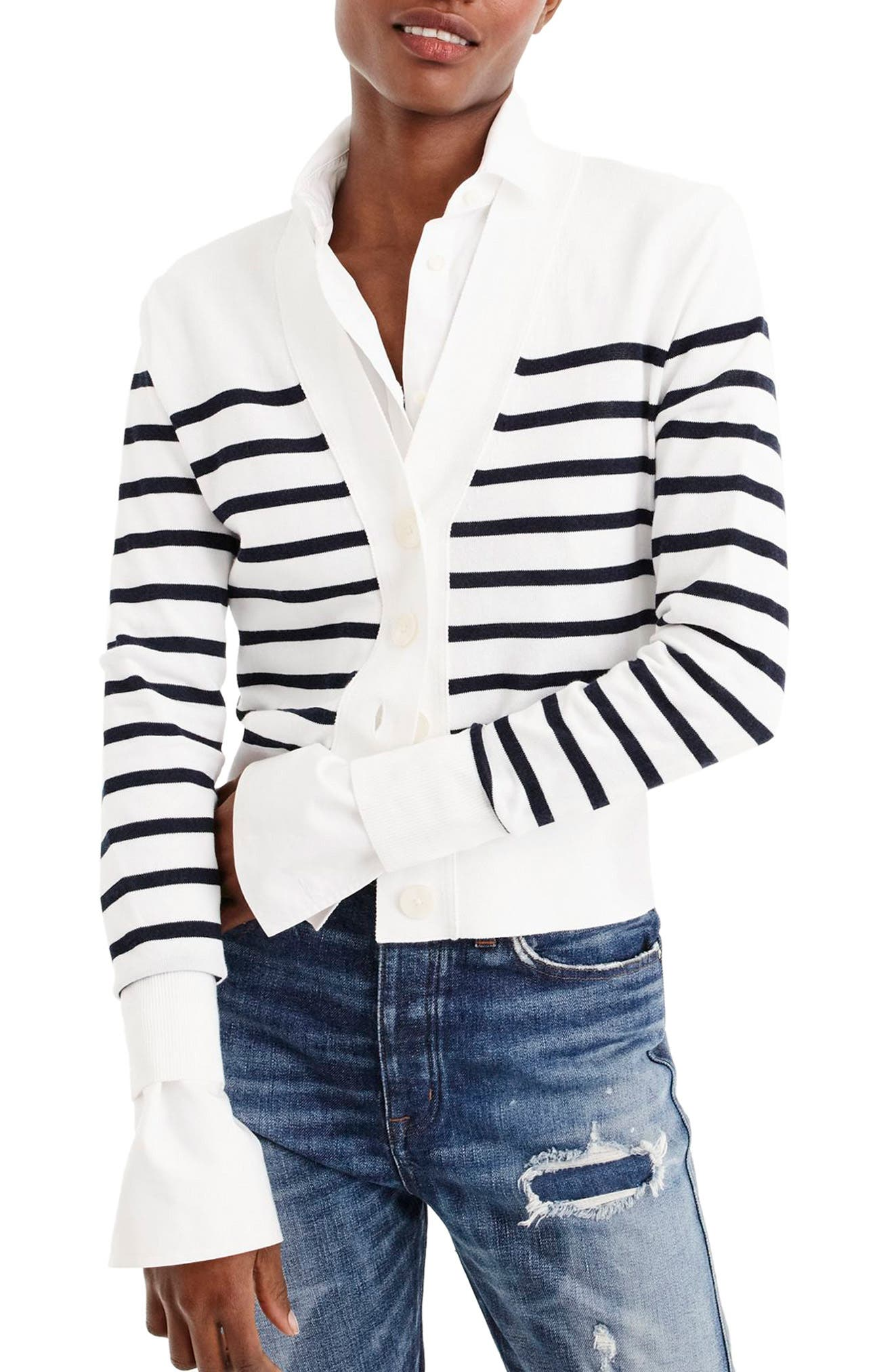 J. Crew Lightweight Striped Crop Cardigan