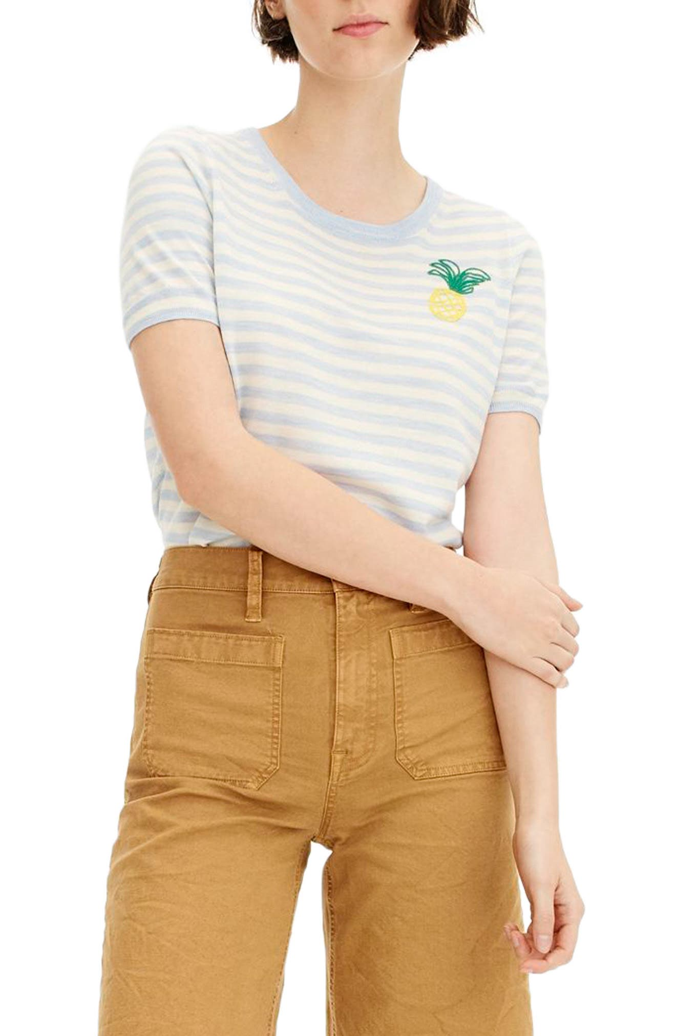 J.Crew Tippi Pineapple Stripe Short Sleeve Sweater