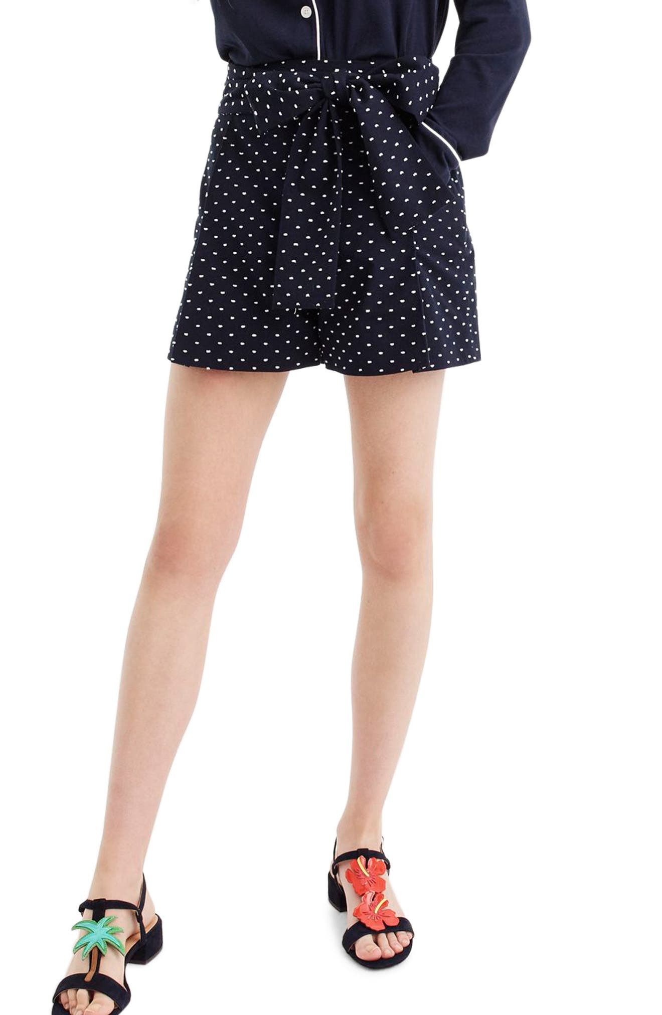 Tie Waist Dot Shorts,                         Main,                         color, Navy White