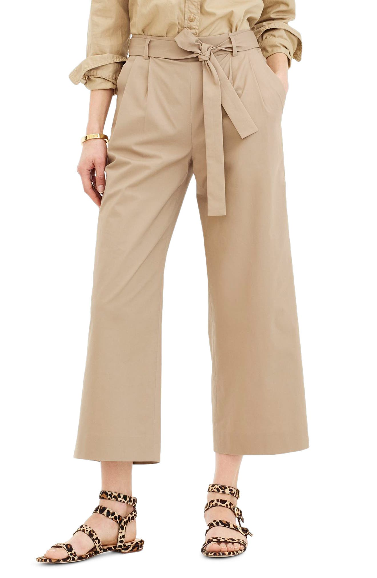 Wide Leg Stretch Cotton Poplin Crop Pants,                             Main thumbnail 1, color,                             Dusty Khaki