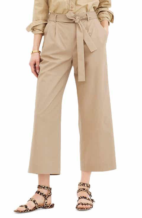 JCrew Wide Leg Stretch Cotton Poplin Crop Pants (Regular & Petite)