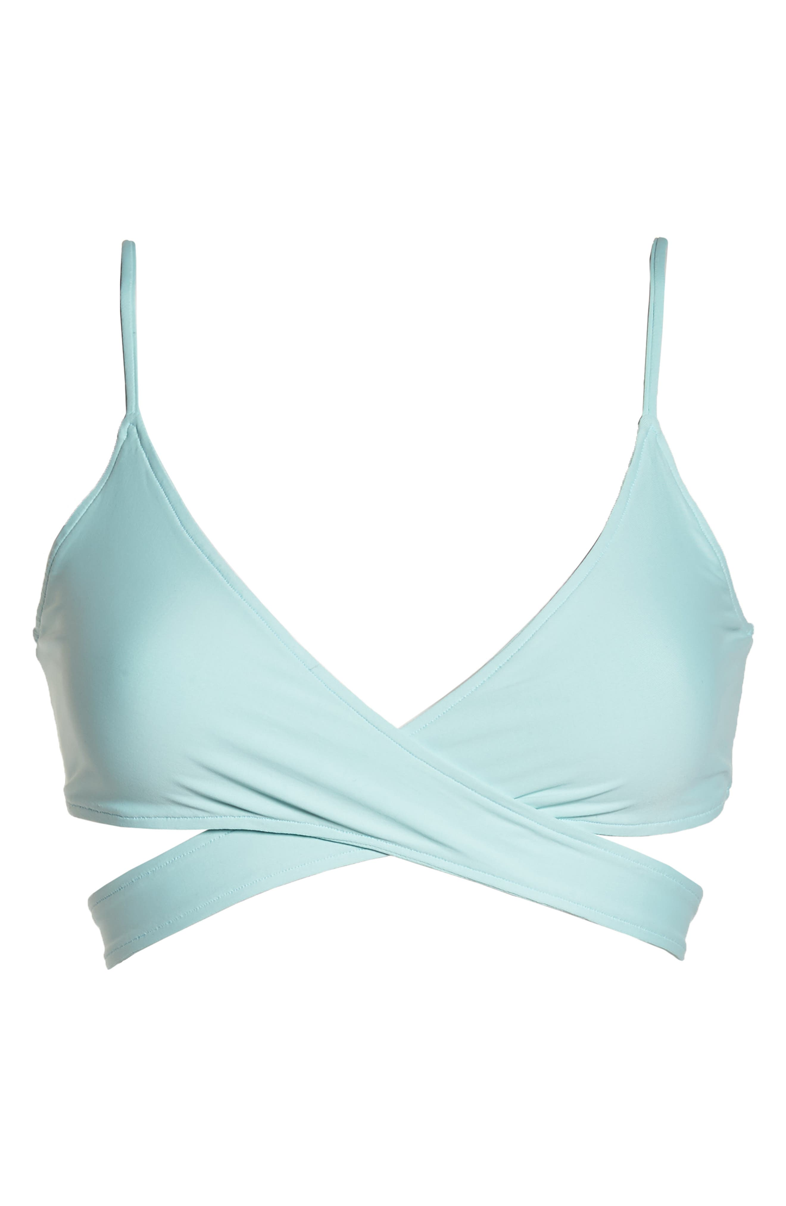 Chloe Wrap Bikini Top,                             Alternate thumbnail 8, color,                             Light Turquoise