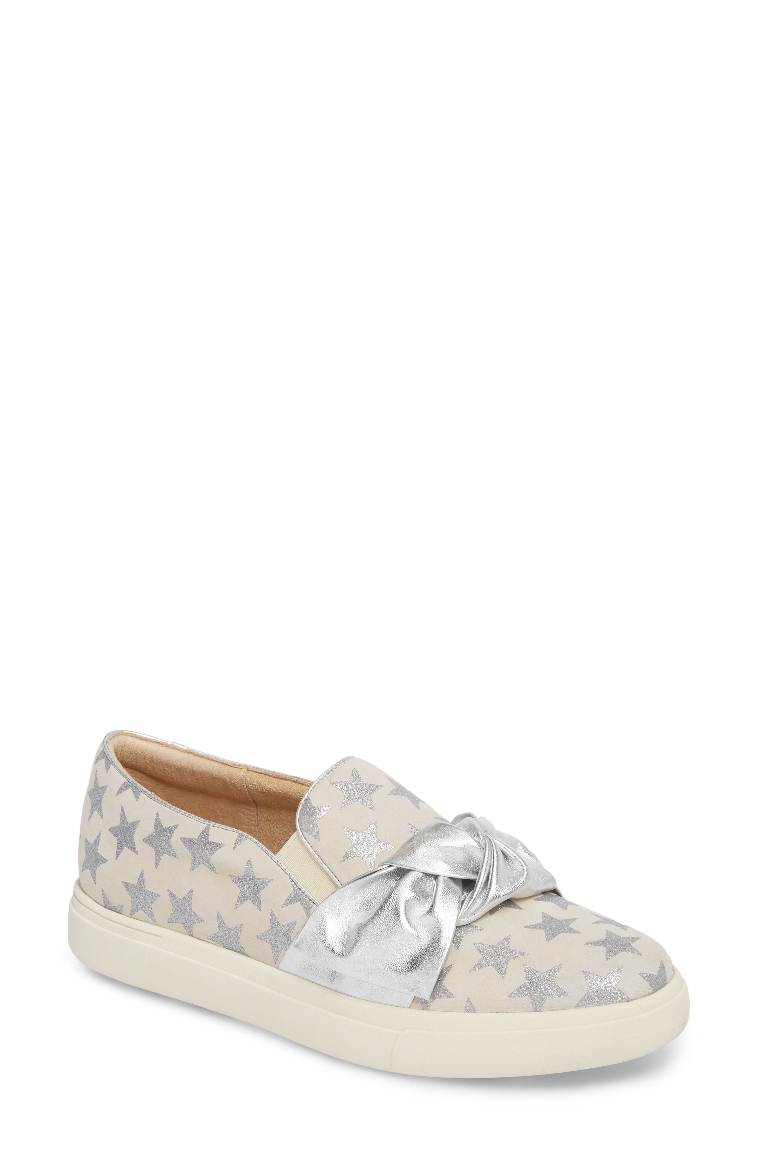 Odelet Slip-On Sneaker,                         Main,                         color, Beige/ Silver Suede