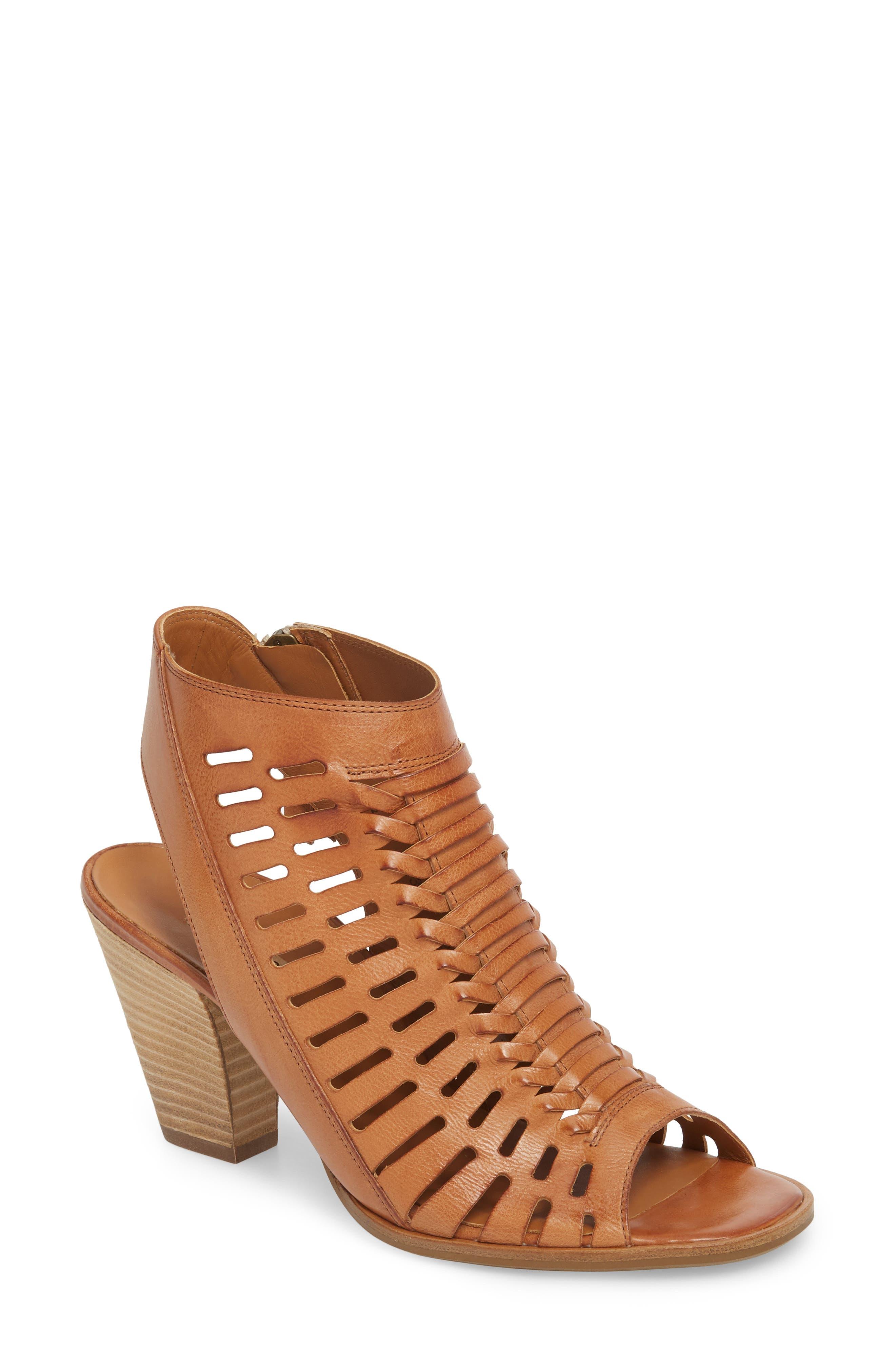 Rosa Woven Peep Toe Sandal,                         Main,                         color, Cuoio Leather