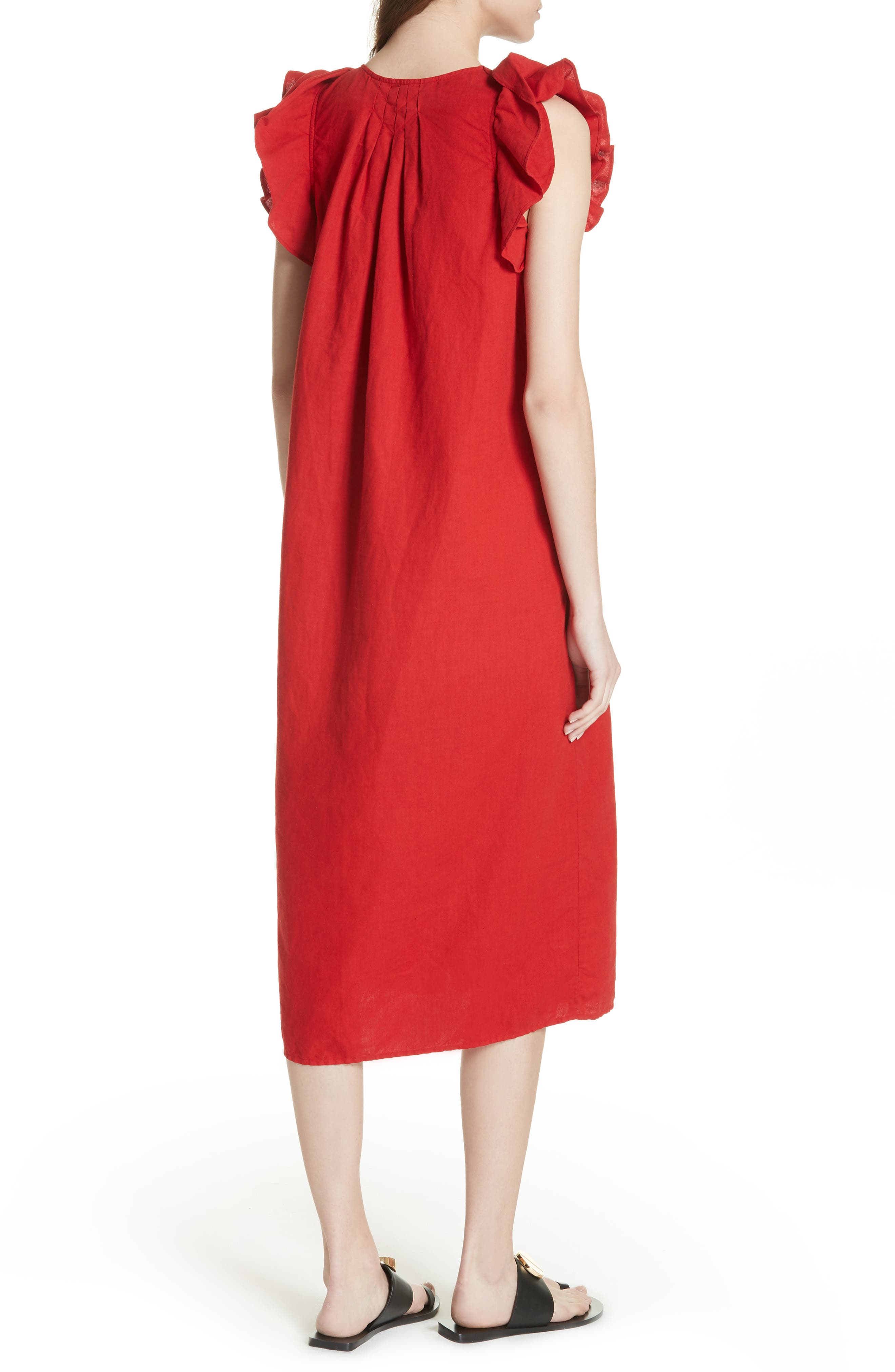 The Flutter Tulip Dress,                             Alternate thumbnail 2, color,                             Poppy