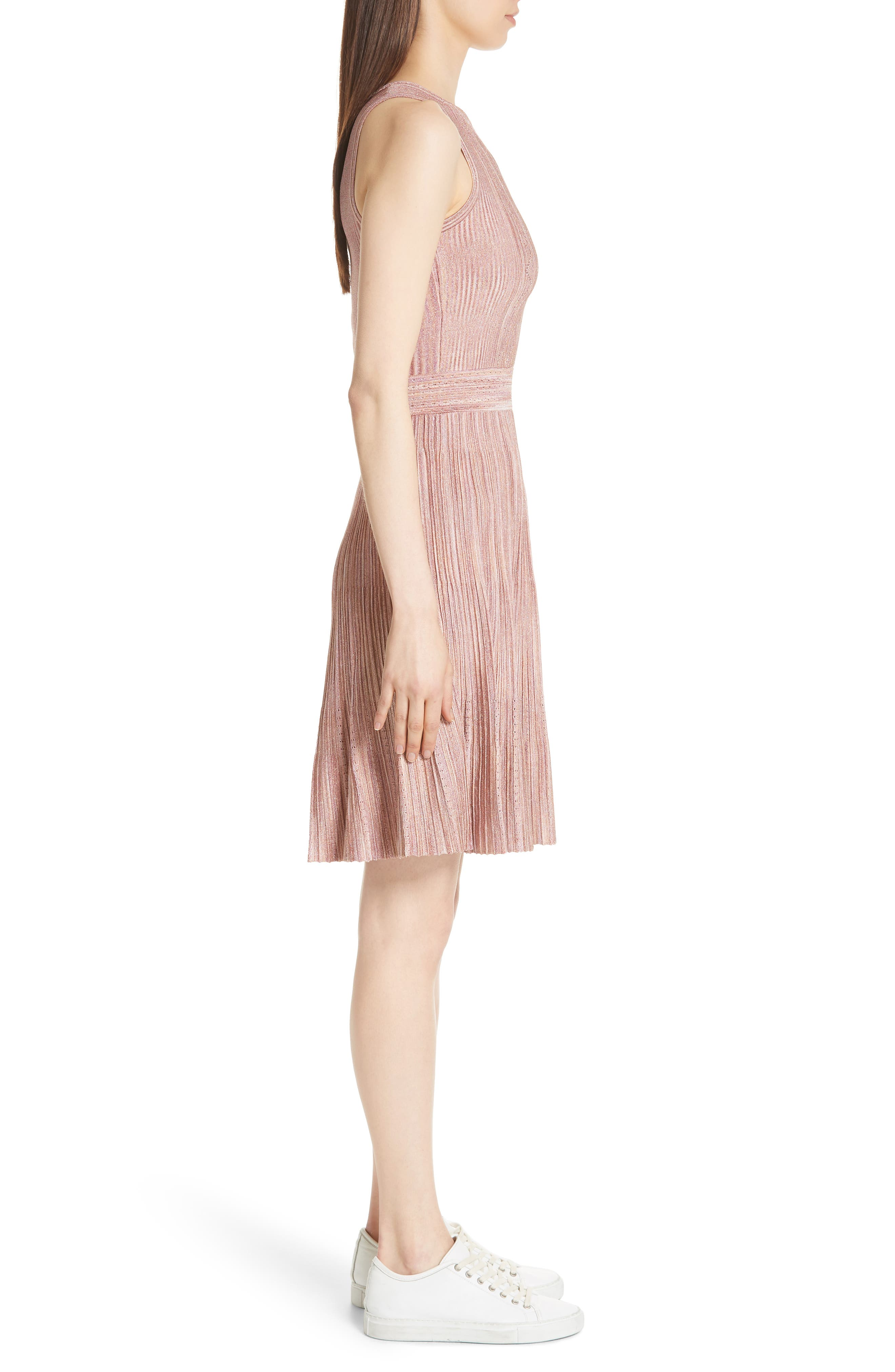 Stretch Knit Fit & Flare Dress,                             Alternate thumbnail 3, color,                             Rose