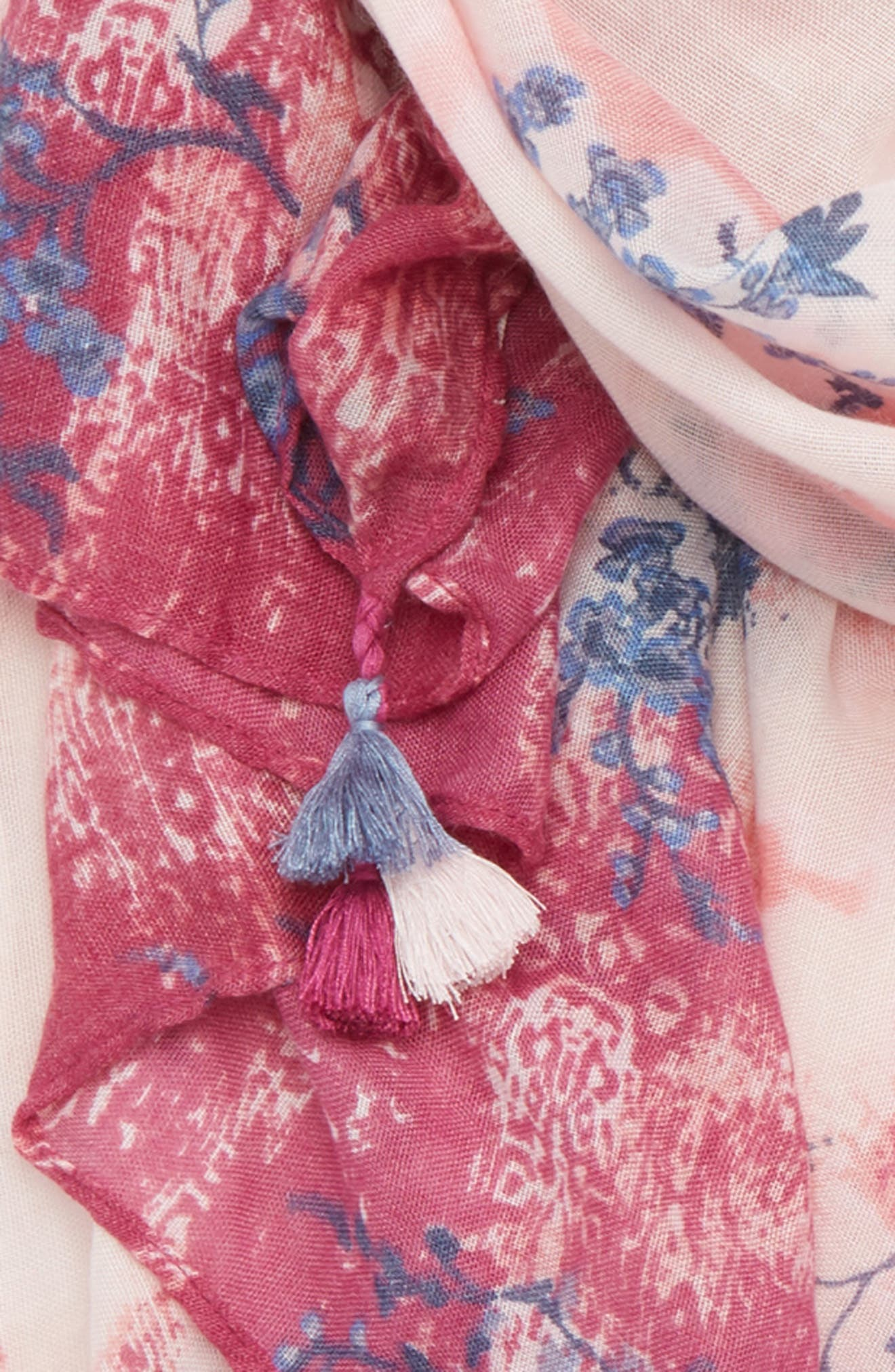 Print Tassel Scarf,                             Alternate thumbnail 3, color,                             Pink Inky Floral Dyewash