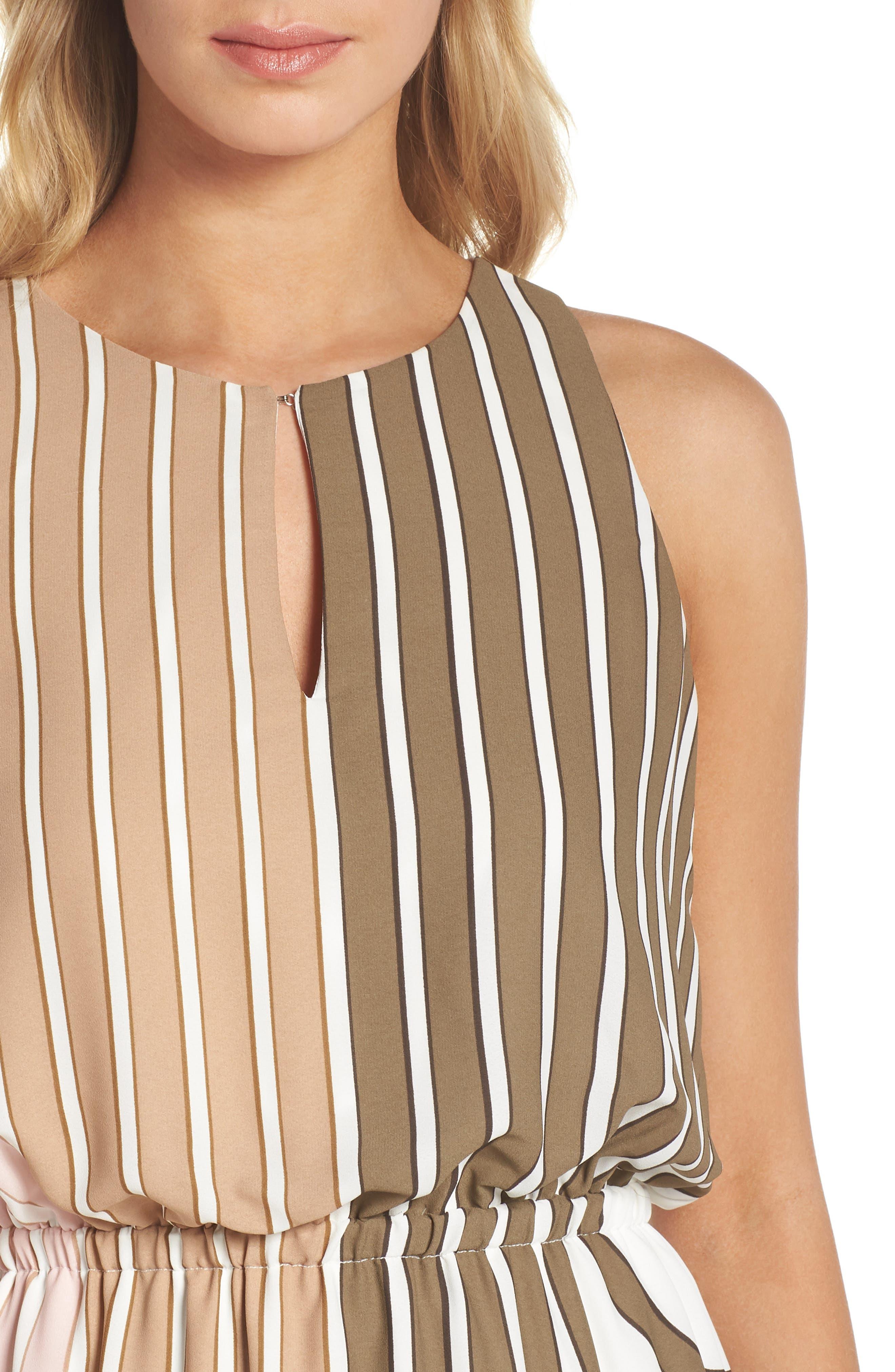 Blouson Midi Dress,                             Alternate thumbnail 4, color,                             Olive Multi