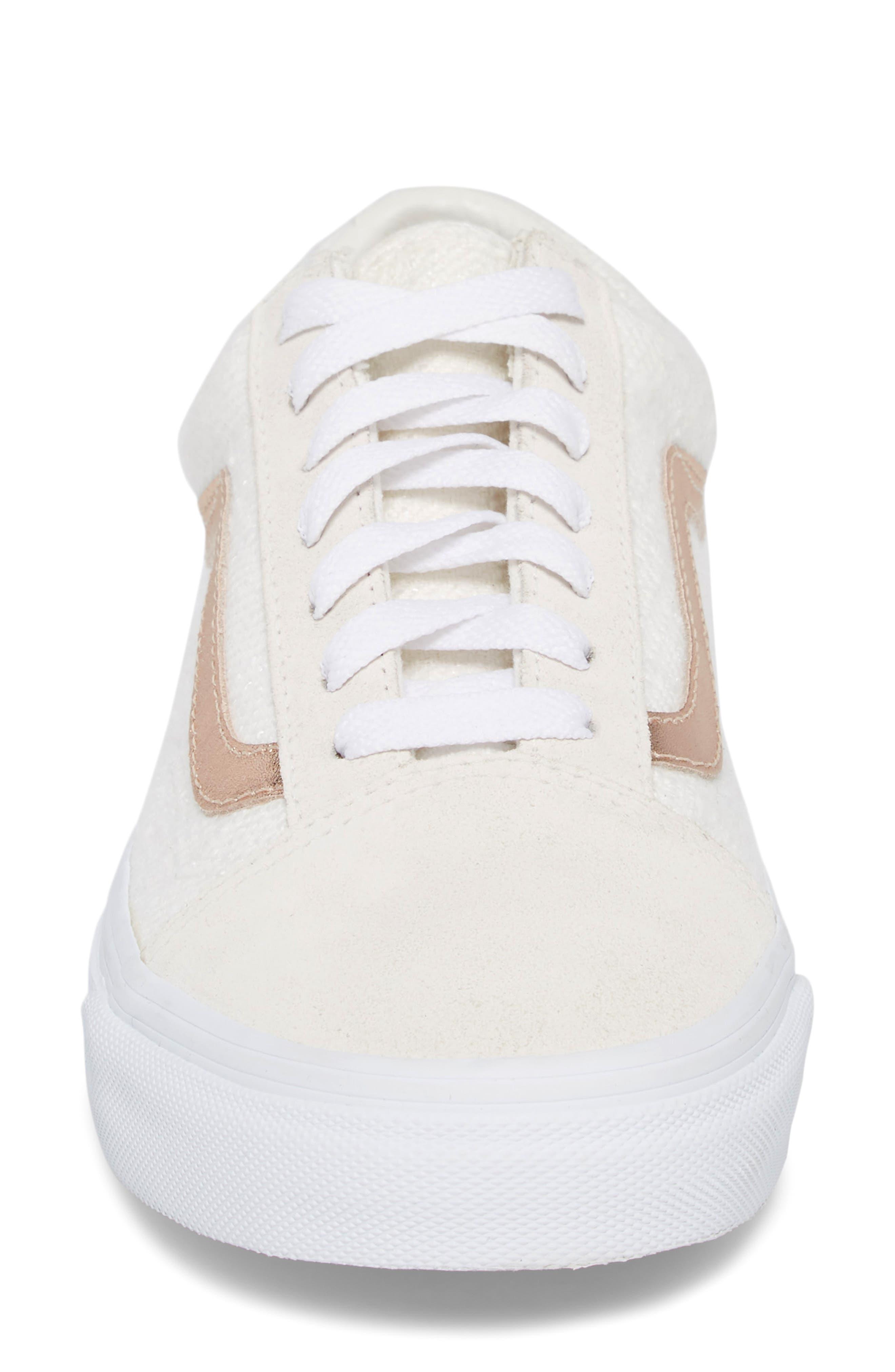 Old Skool Sneaker,                             Alternate thumbnail 6, color,                             Blanc De Blanc/ Rose Gold